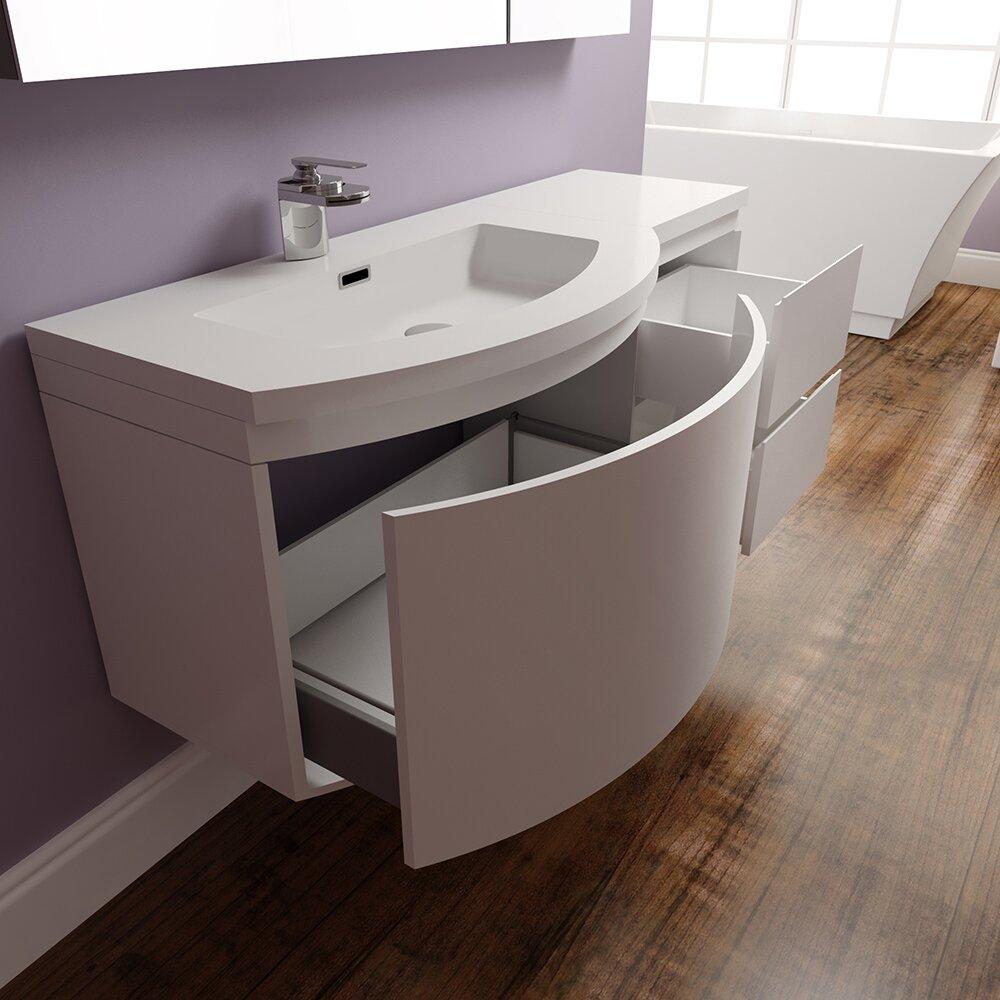 "Wall Bathroom Vanity: Alya Bath Ripley 48"" Single Wall Mount Modern Bathroom"