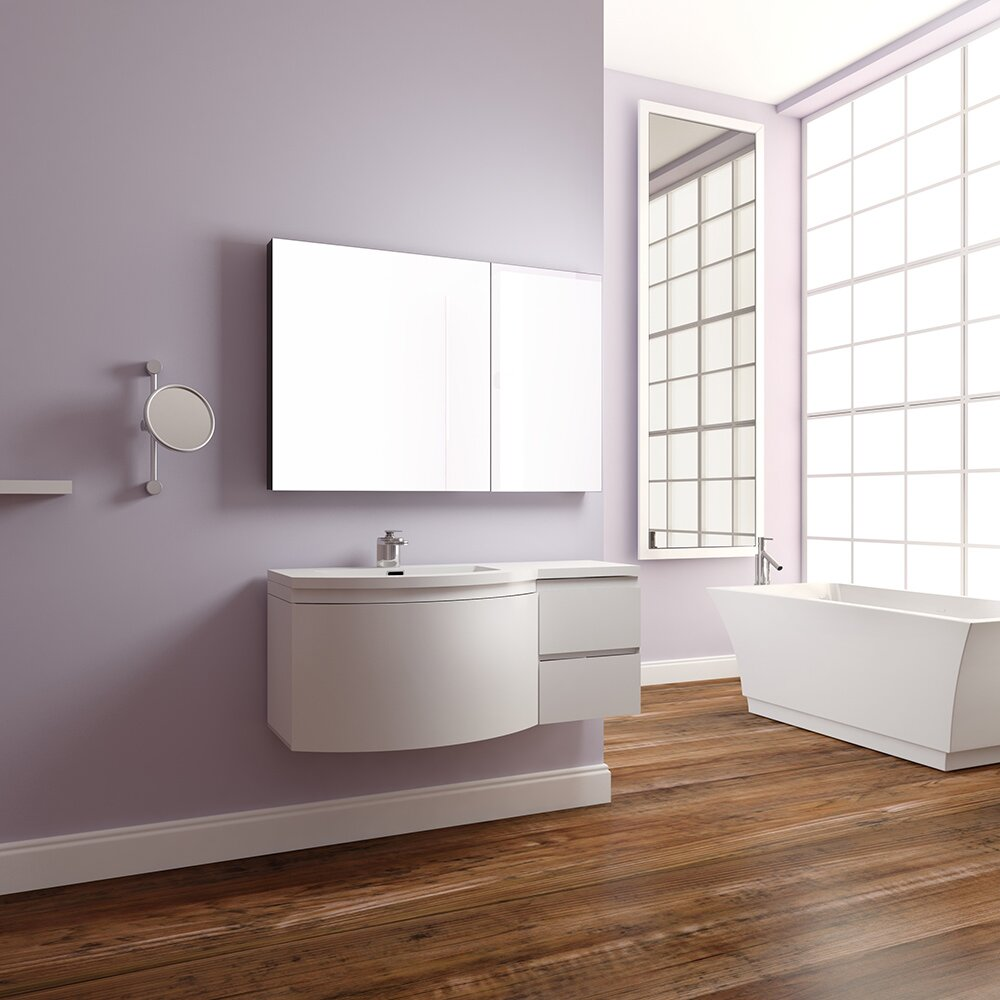 Alya bath ripley 48 single wall mount modern bathroom - Contemporary bathroom vanity sets ...