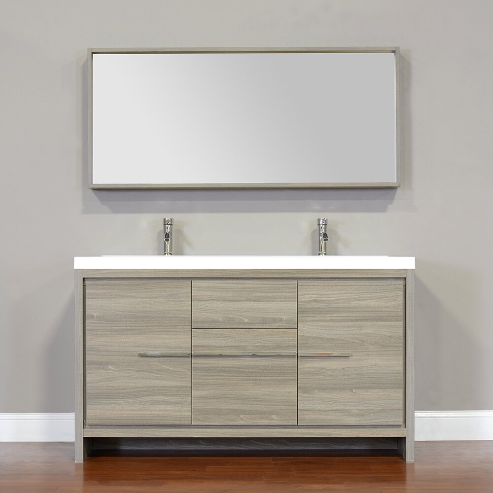 Alya bath ripley 57 double modern bathroom vanity set for Mirrored bathroom set