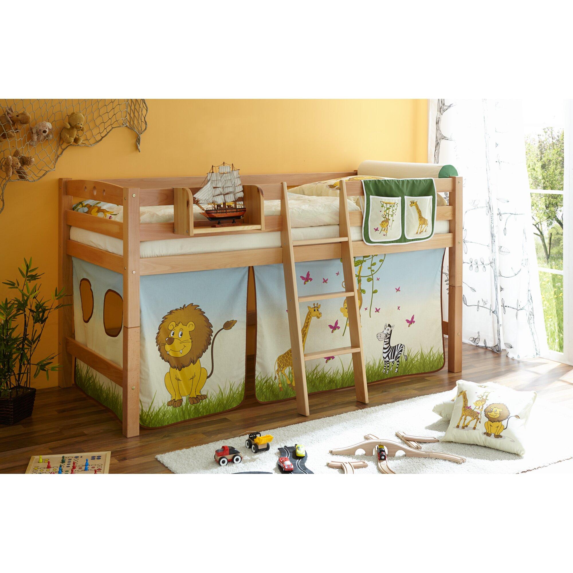 ticaa hochbett tipsi mit schr ger leiter 90 x 200 cm bewertungen. Black Bedroom Furniture Sets. Home Design Ideas