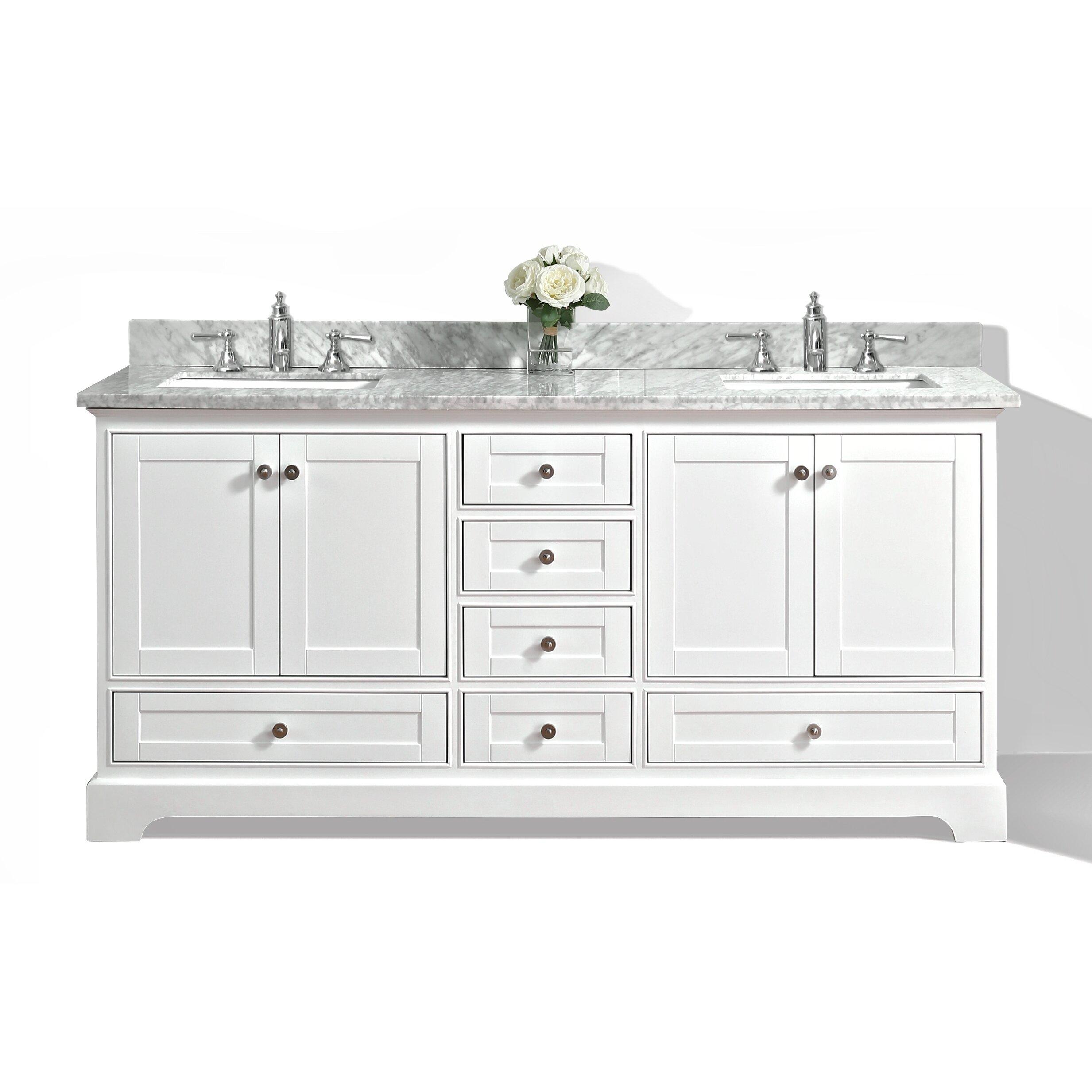 Ancerre Designs Audrey 72 Bath Vanity Set With Italian Carrara White Marble Vanity Top