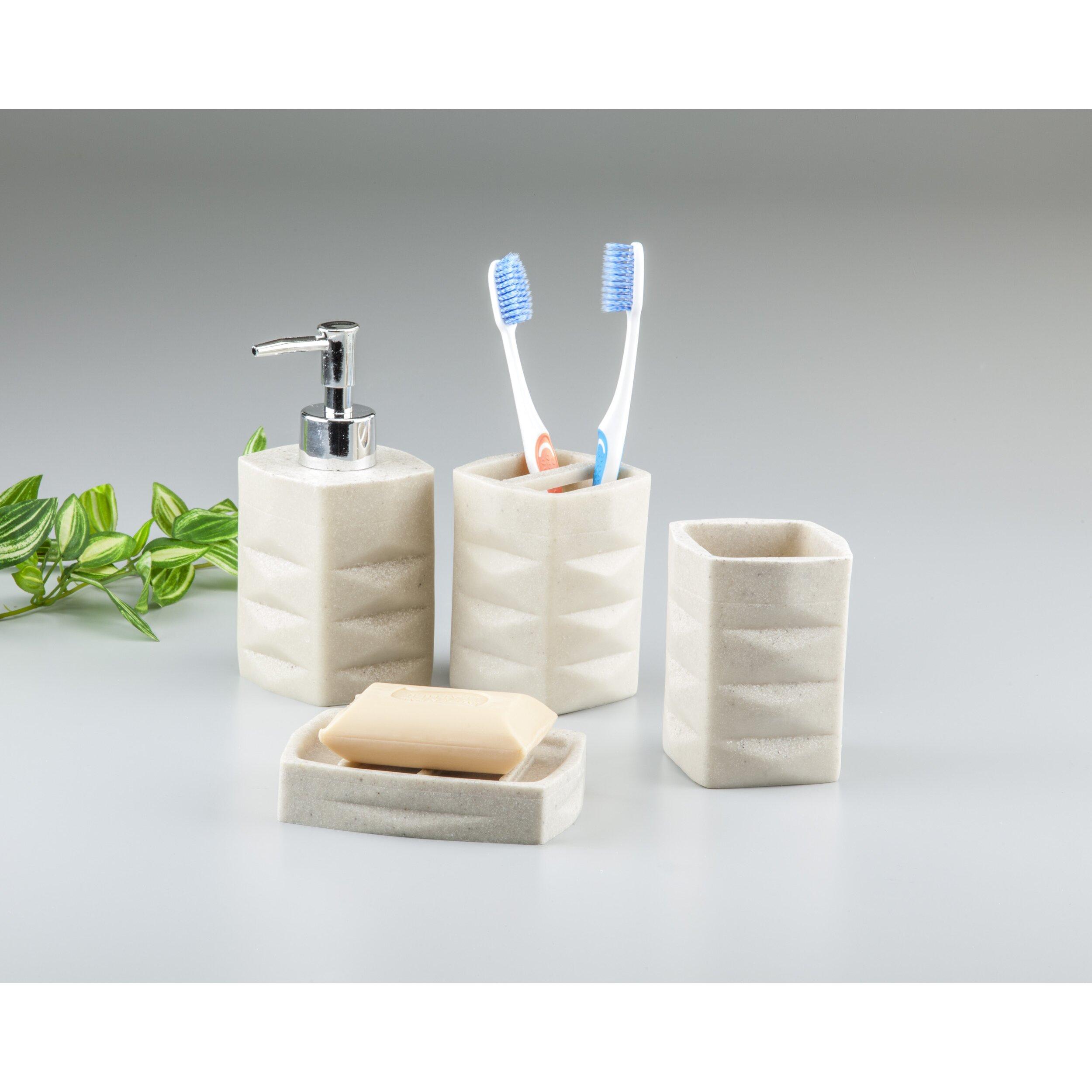 Innova imports 4 piece bathroom set reviews wayfair for Bathroom 4 piece set