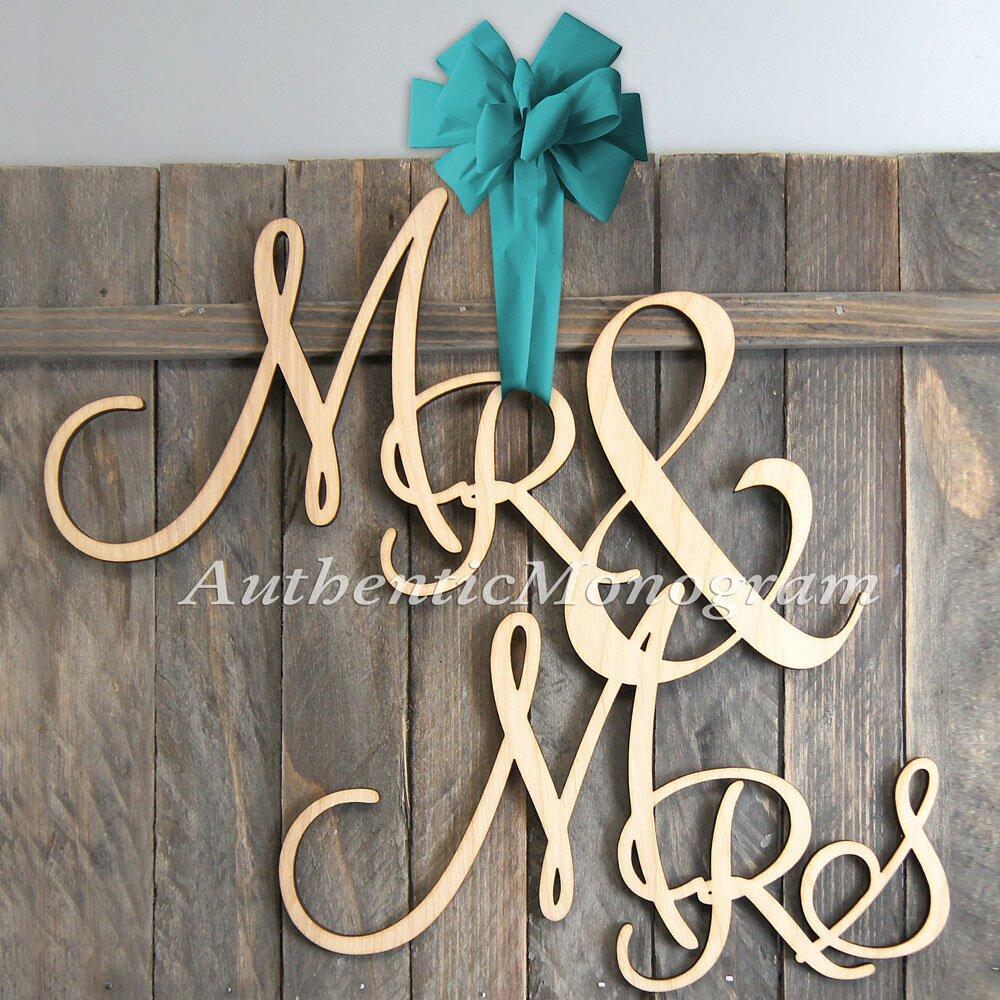 Amonogramartunlimited mr and mrs painted wooden monogram for Monogram decor