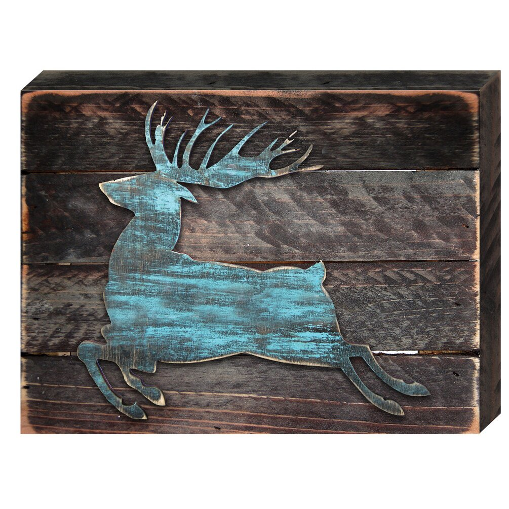 Wooden Board Wall Decor : Amonogramartunlimited deer silhouette reclaimed wooden