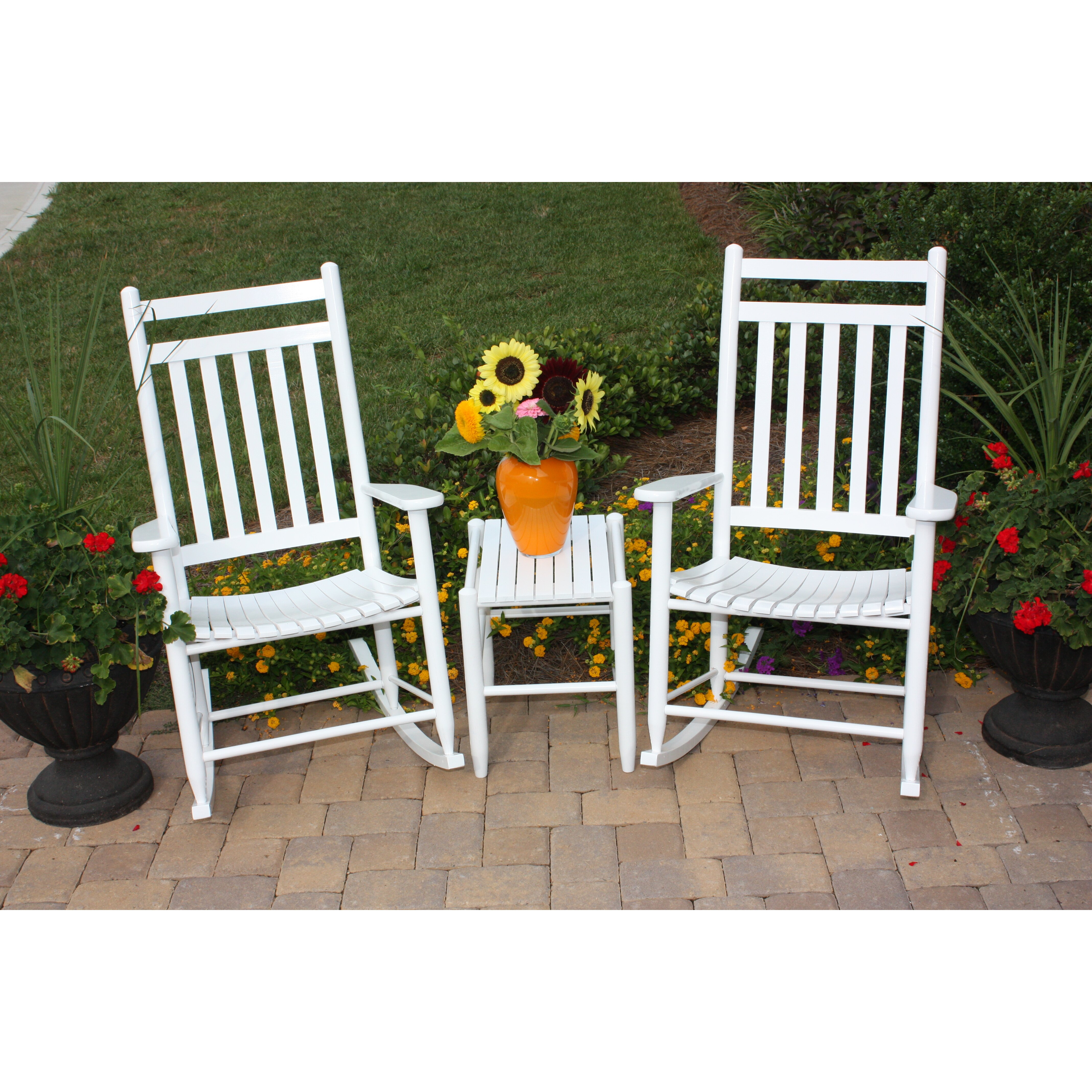 ... Adult Slat Seat Porch Rocking Chair and Table Set & Reviews  Wayfair