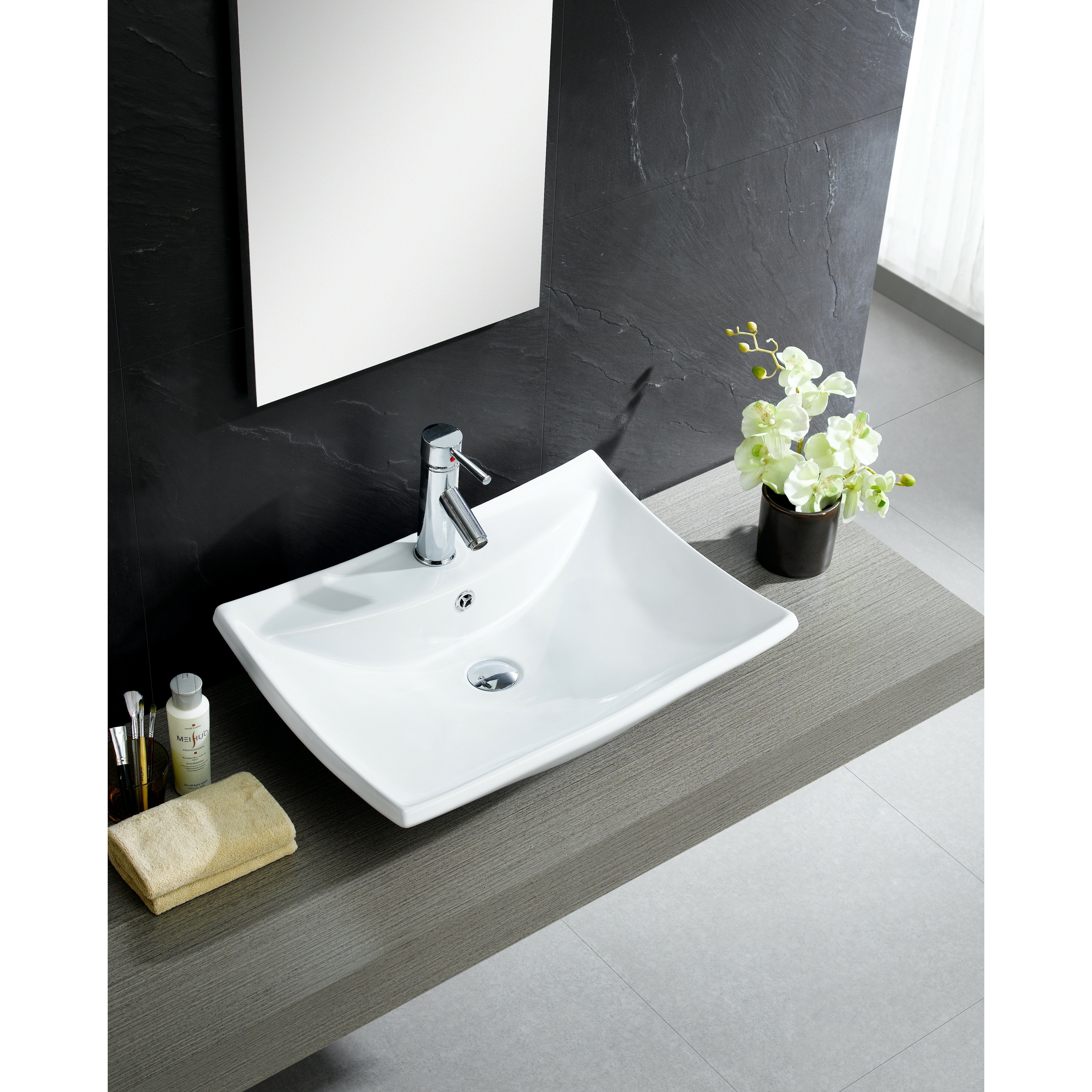 Stylish Bathroom Sinks: Fine Fixtures Modern Vitreous Square Vessel Sink Vessel