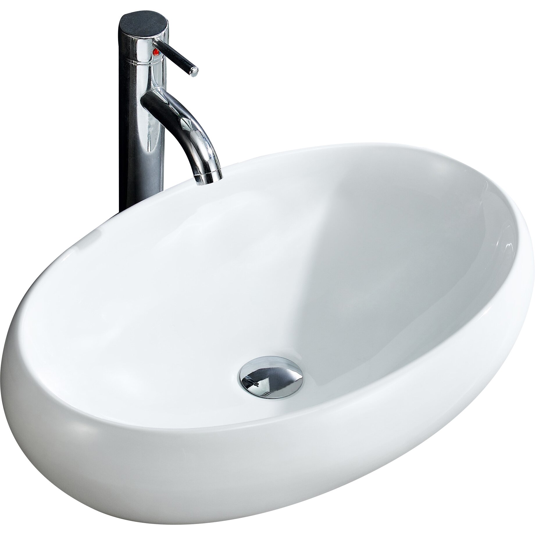 Modern Vessel Sinks : Modern Vitreous China Bulging Oval Vessel Sink Vessel Bathroom Sink by ...