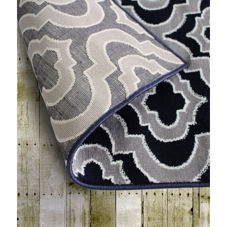 rug and decor inc summit elite navy blue gray area rug reviews wayfair. Black Bedroom Furniture Sets. Home Design Ideas