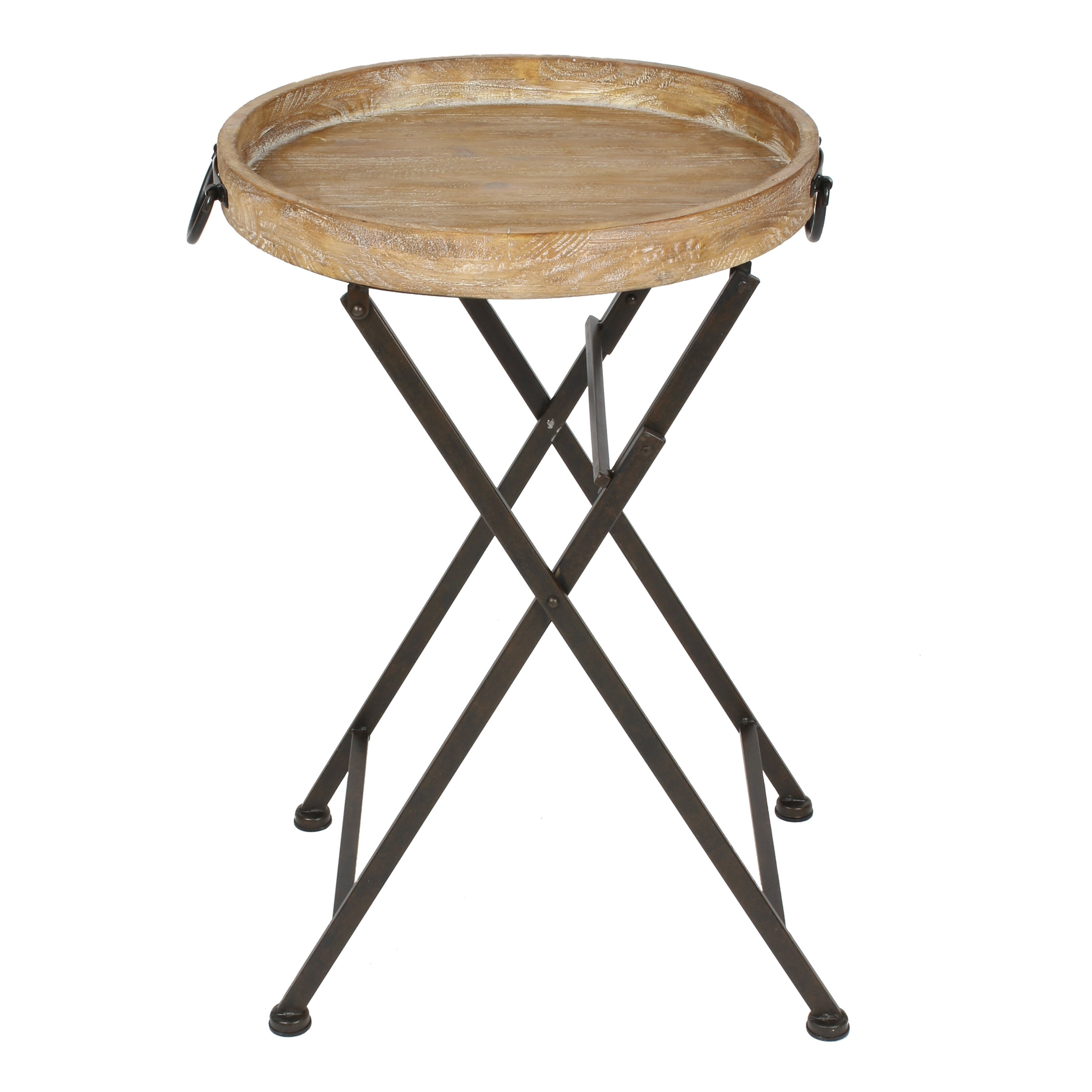 Kate and laurel marmora metal and wood tray table for Table pliante