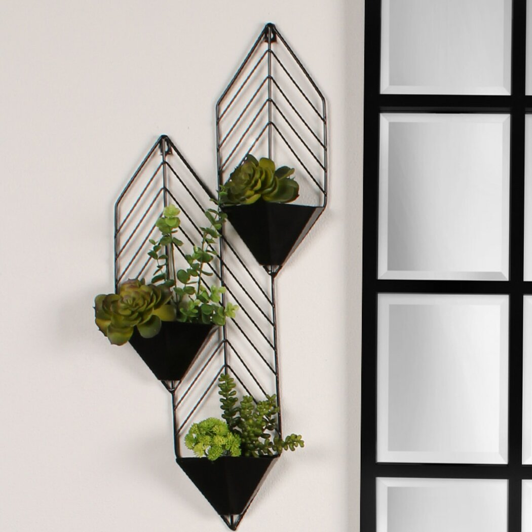 Geometric Metal Wall Decor : Kate and laurel tain geometric metal wall hanging planter