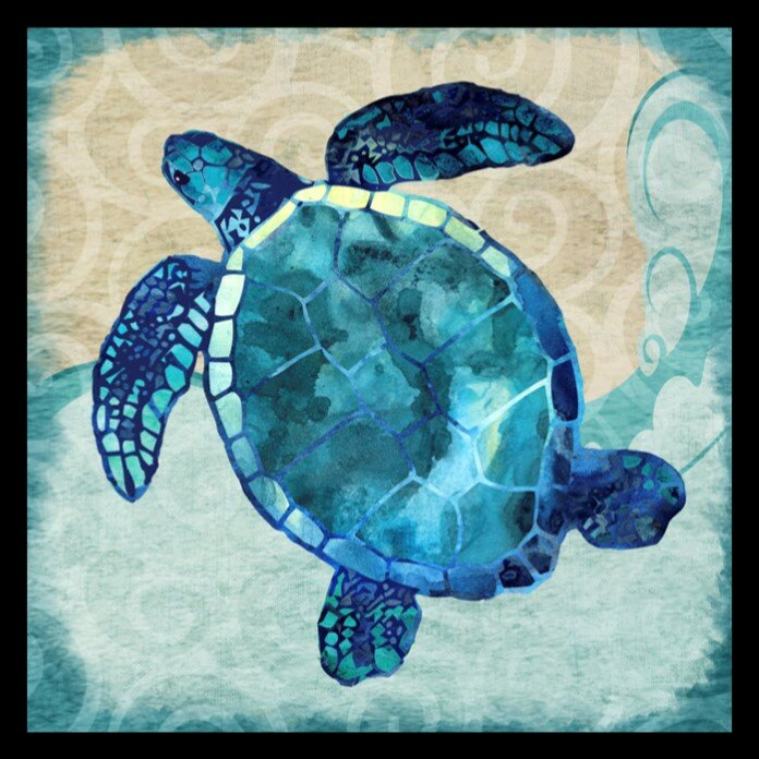 Buy Art For Less Ocean Sea Turtle Colorful Blue Green