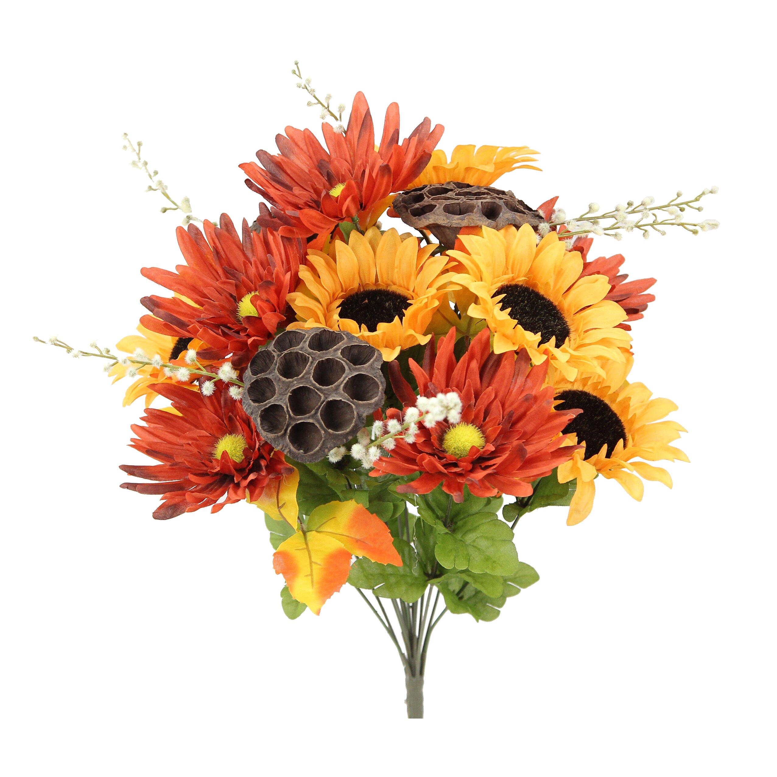 Admiredbynature 14 stems artificial sunflower gerbera daisy and lotus root mixed flowers bush