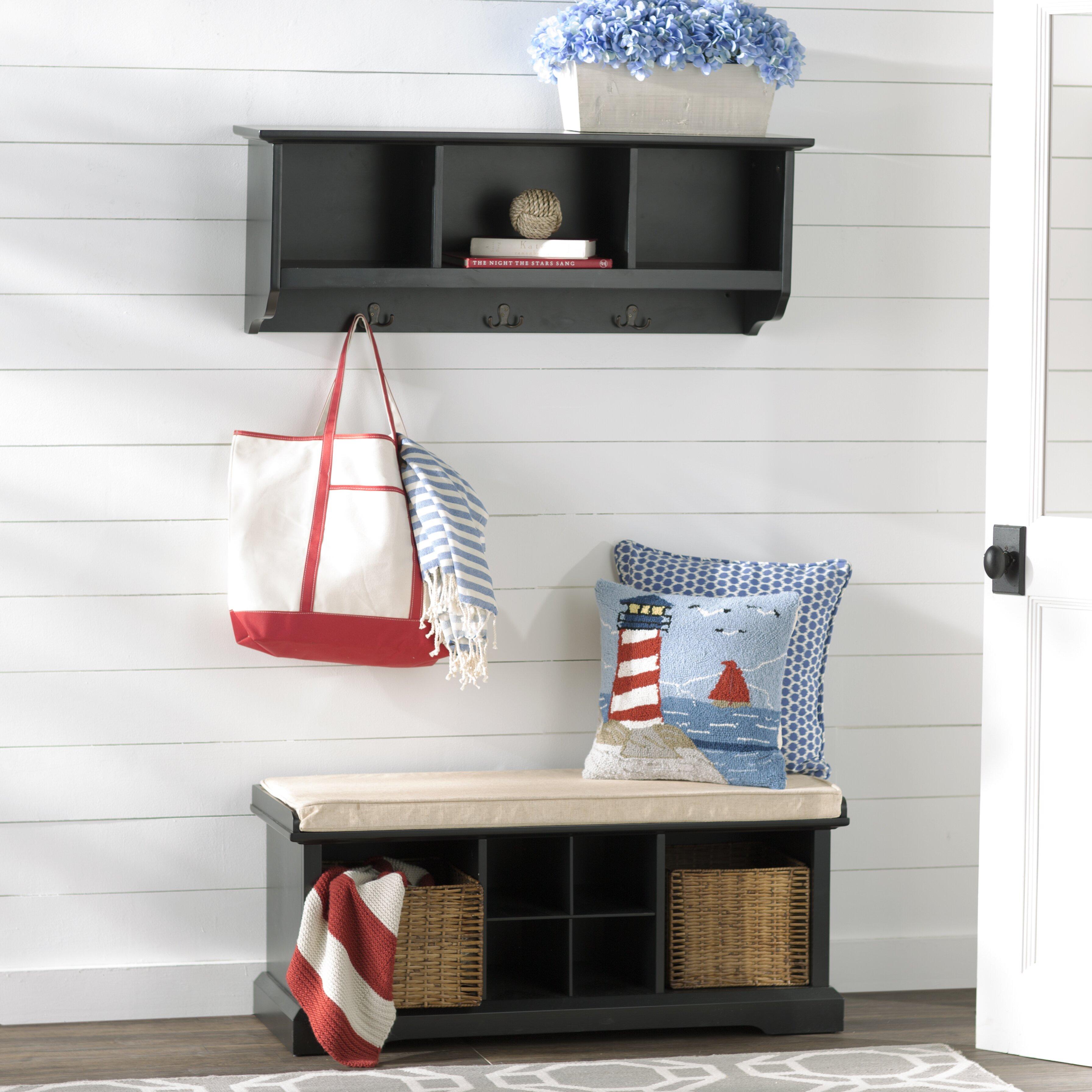 breakwater bay selbyville wood storage bench shelf set reviews wayfair. Black Bedroom Furniture Sets. Home Design Ideas