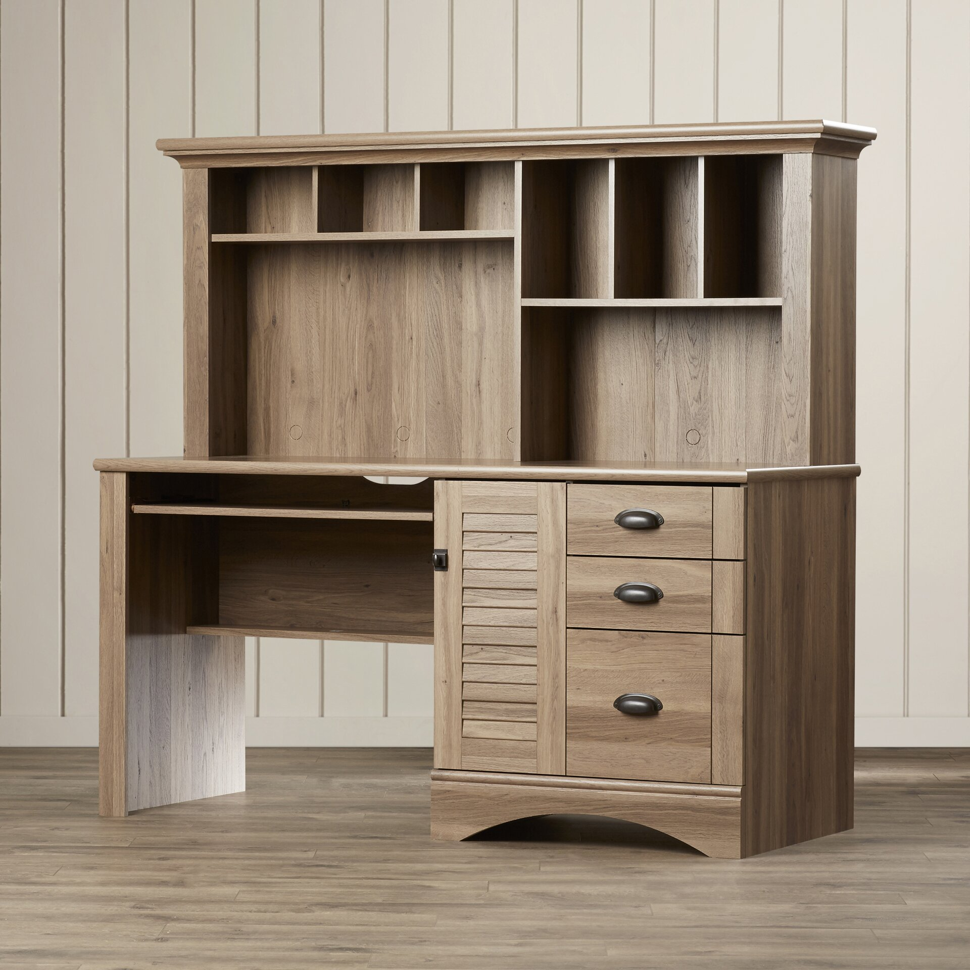 beachcrest home pinellas computer desk with hutch 3 storage drawers reviews wayfair. Black Bedroom Furniture Sets. Home Design Ideas
