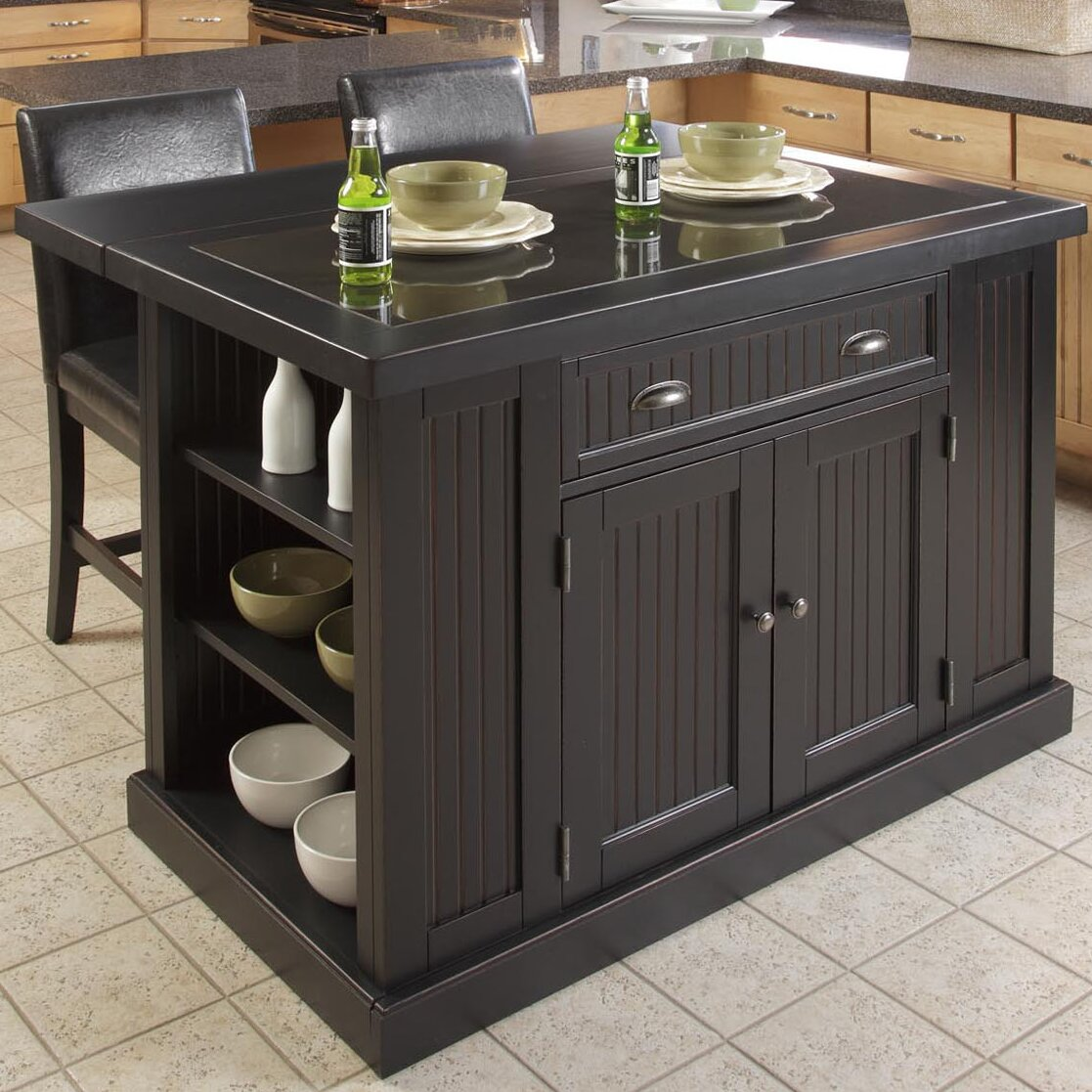Kitchen Island With Granite Top: Breakwater Bay Gouldsboro 3 Piece Kitchen Island Set With