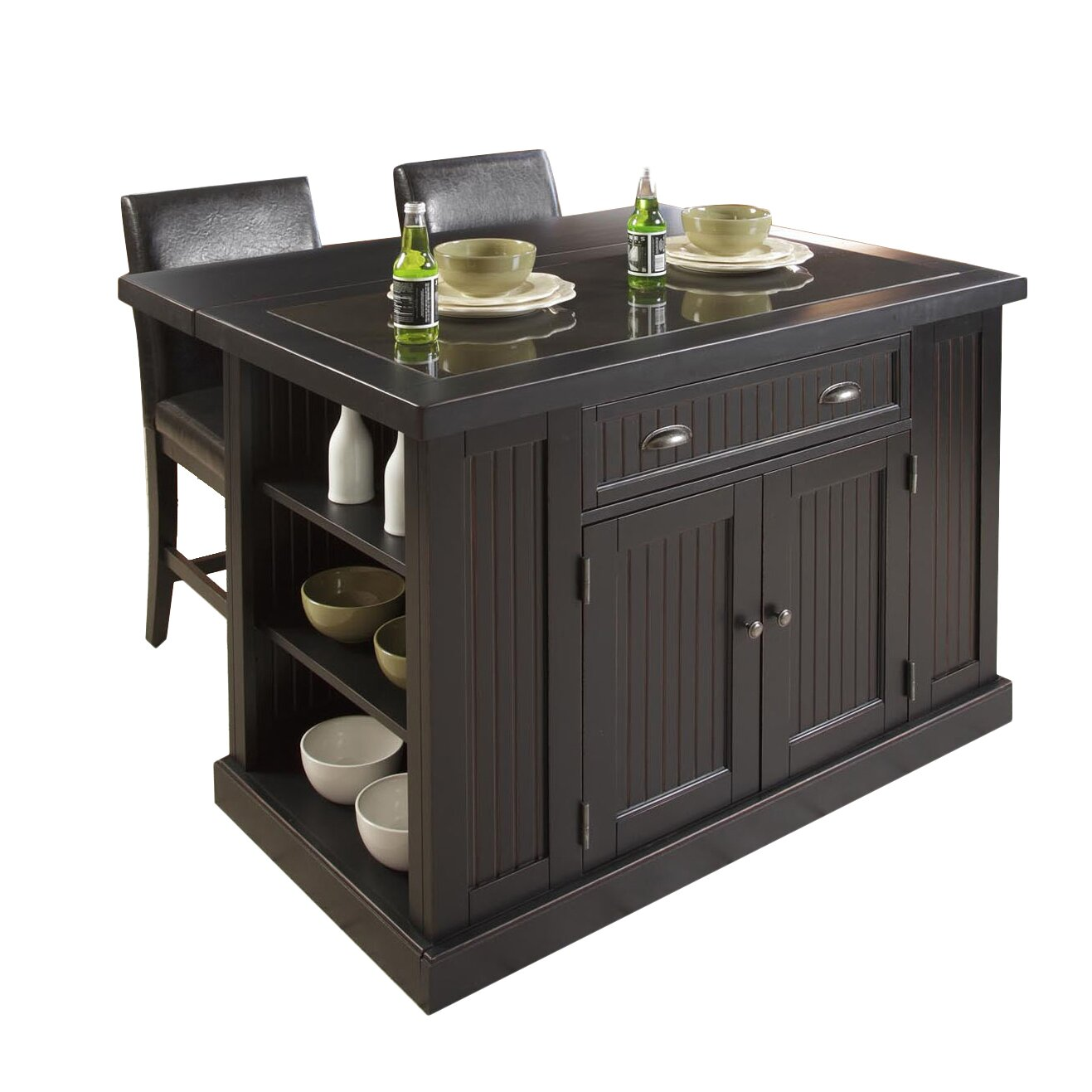 Breakwater Bay Gouldsboro 3 Piece Kitchen Island Set With Granite Top Reviews