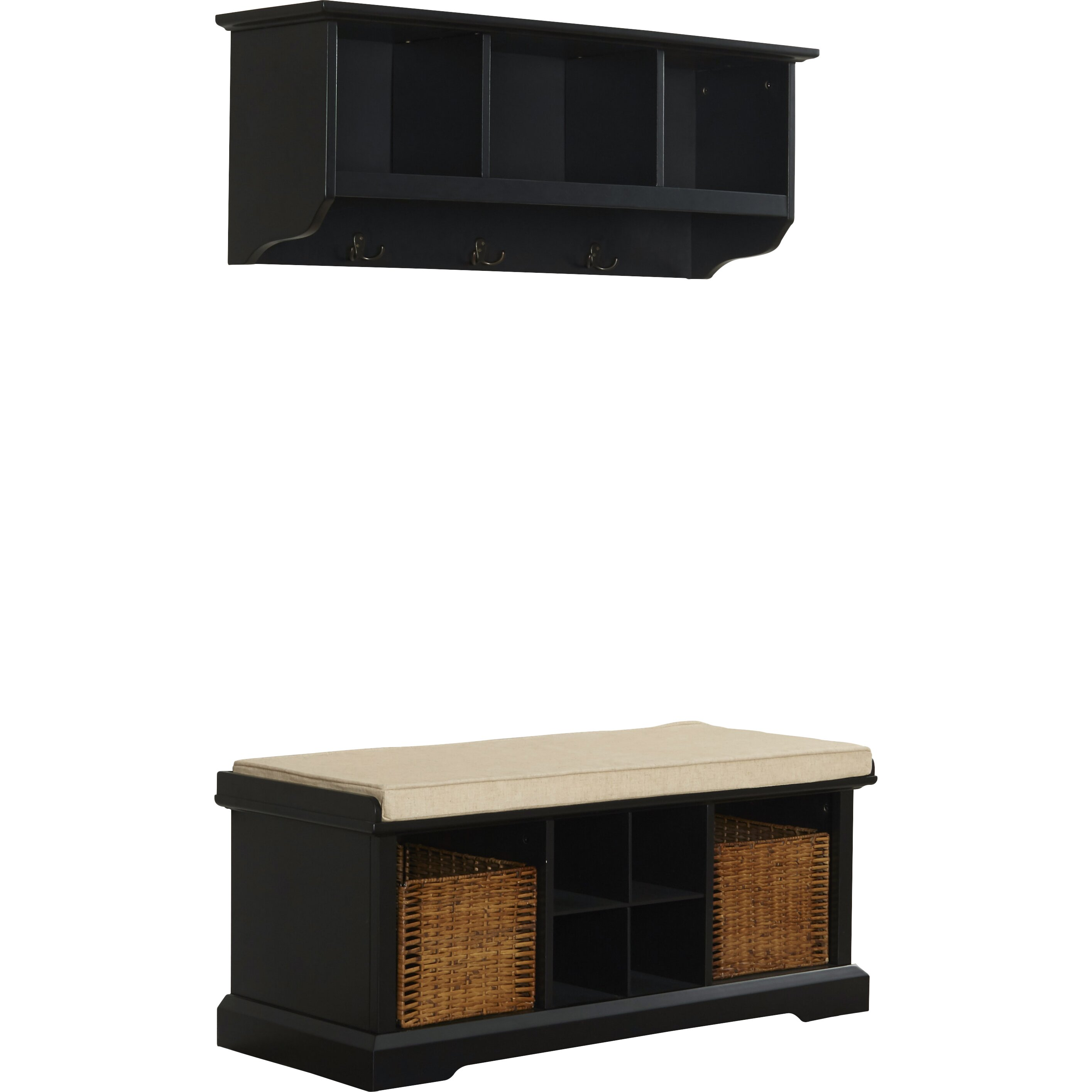 Breakwater Bay Selbyville Wood Storage Bench Shelf Set