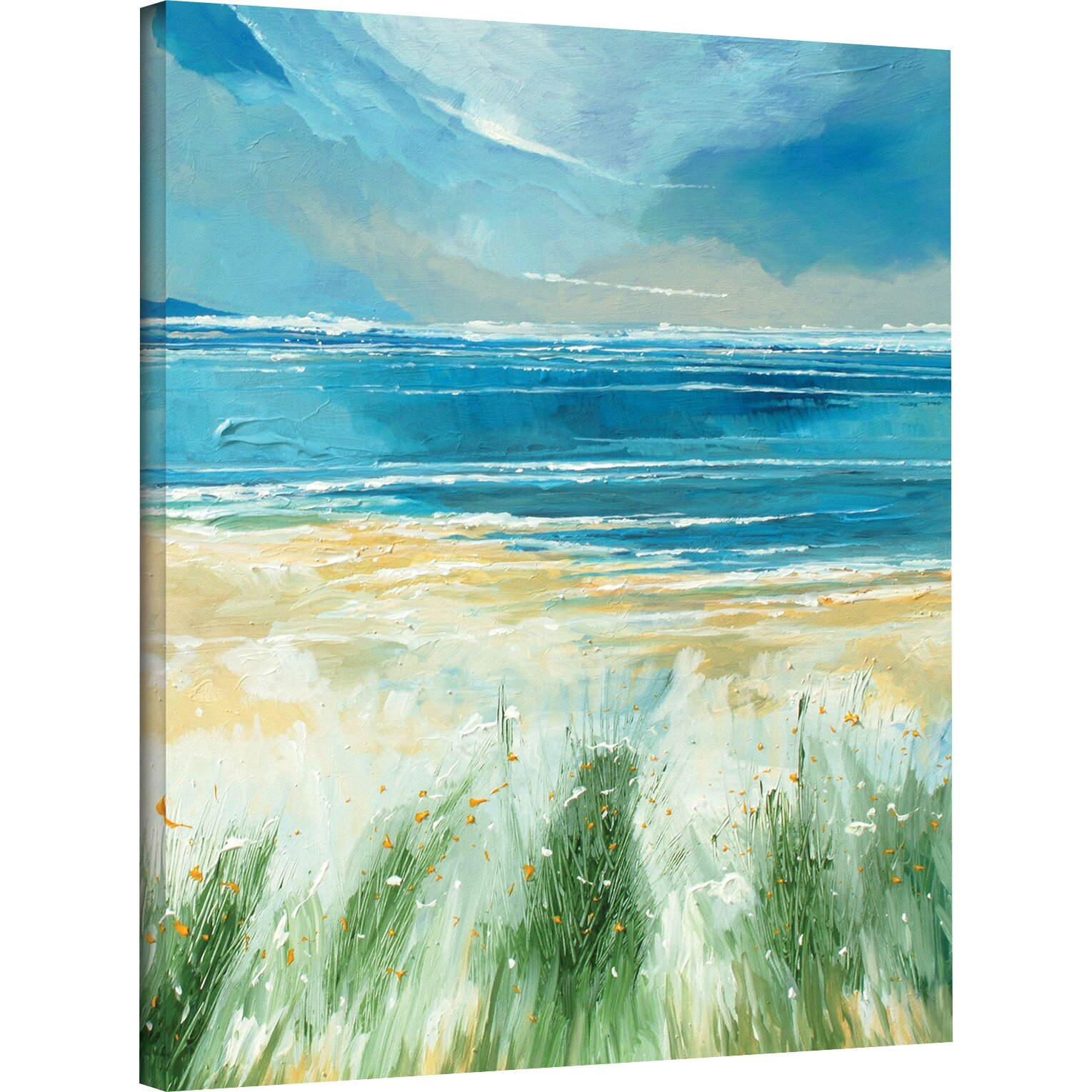 Breakwater Bay Summer Sea And Beach Painting Print On