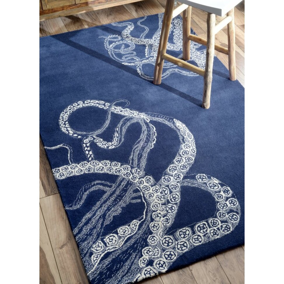Dog Eating Wool Rug: Breakwater Bay Greenridge Hand-Tufted Blue Area Rug