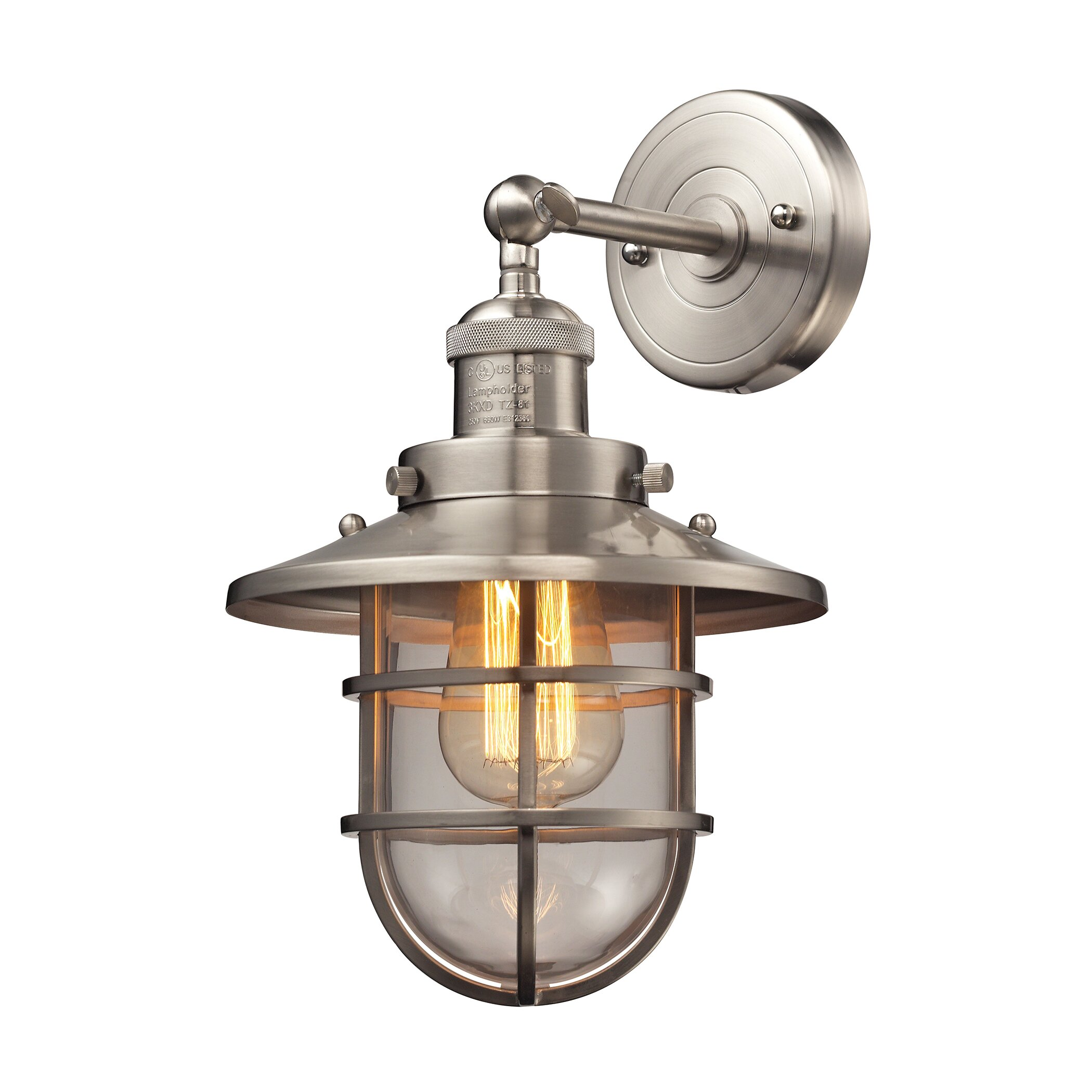 Wall Sconce With Magnifying Glass : Breakwater Bay Davidson 1 Light Wall Sconce & Reviews Wayfair