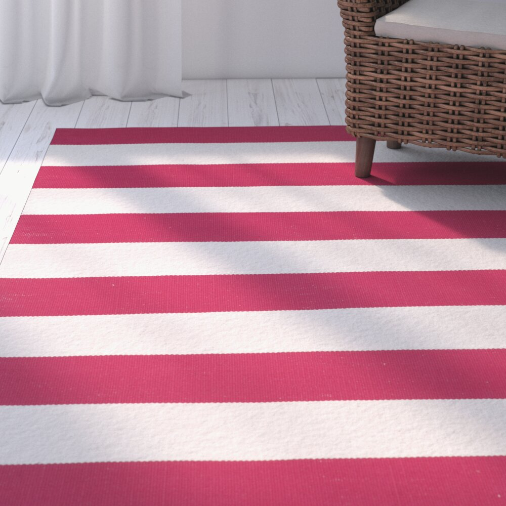 Breakwater Bay Beechwood Red & White Striped Contemporary