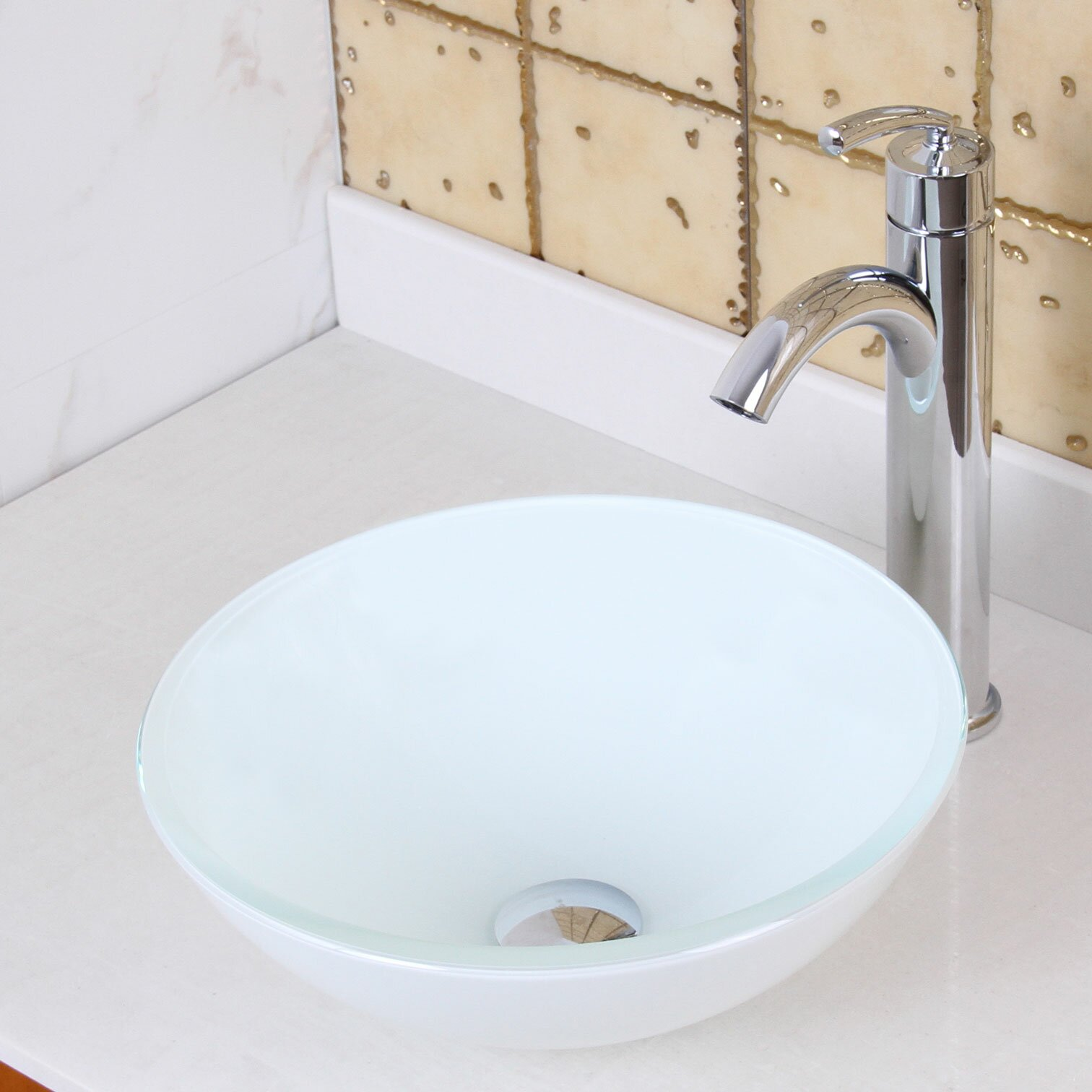 Bathroom Tempered Glass Vessel Sink: Elimaxs Elite Double Layered White Tempered Round Glass