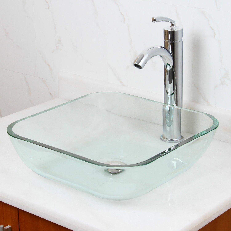 Elimaxs elite transparent tempered square glass vessel - Bathroom tempered glass vessel sink ...