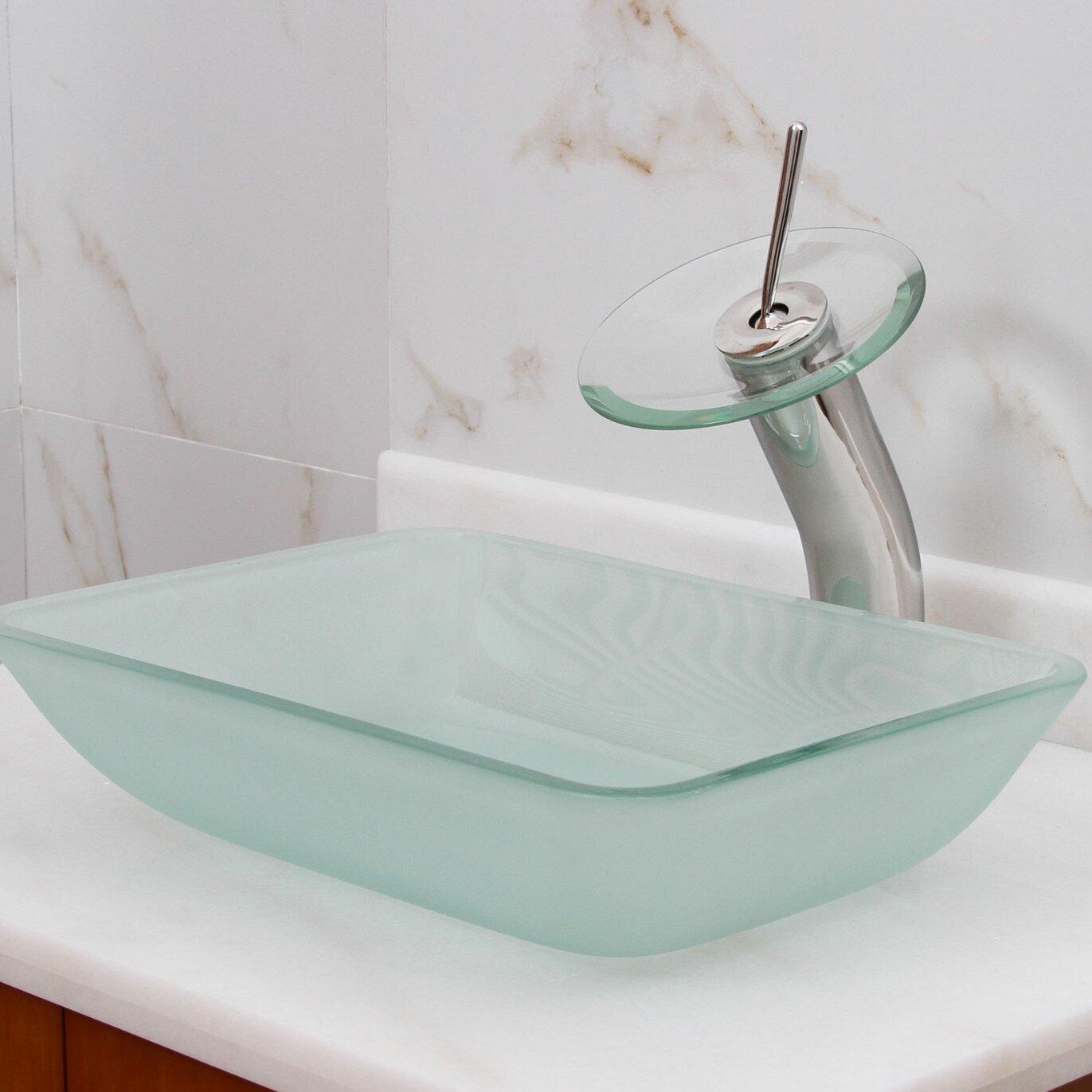 Elimaxs Elite Frosted Tempered Rectangular Glass Vessel Bathroom Sink Reviews Wayfair