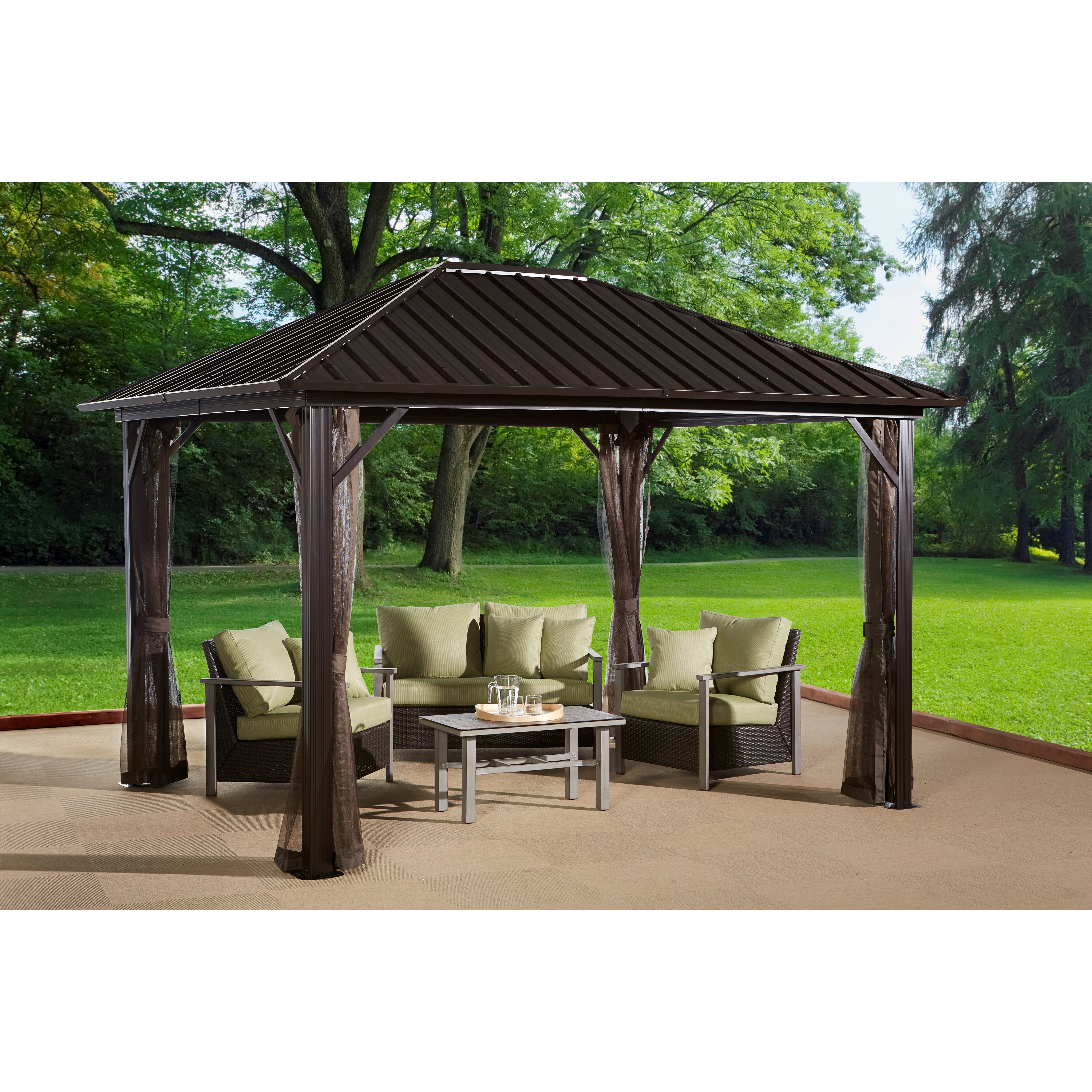 Sojag Genova 16 Ft W X 12 Ft D Metal Permanent Gazebo
