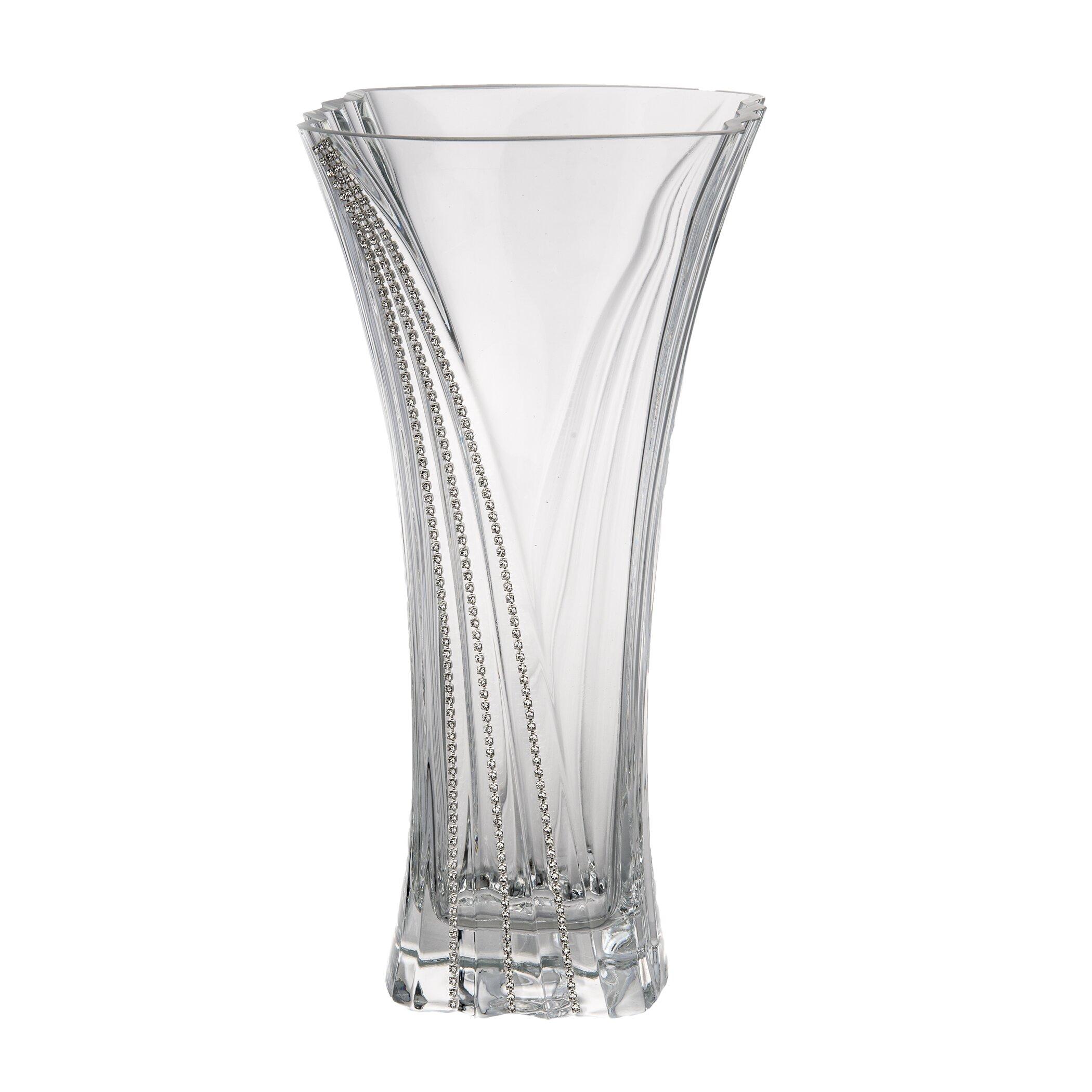 ClassicTouch Wavy Swarovski Crystal Vase : Wayfair