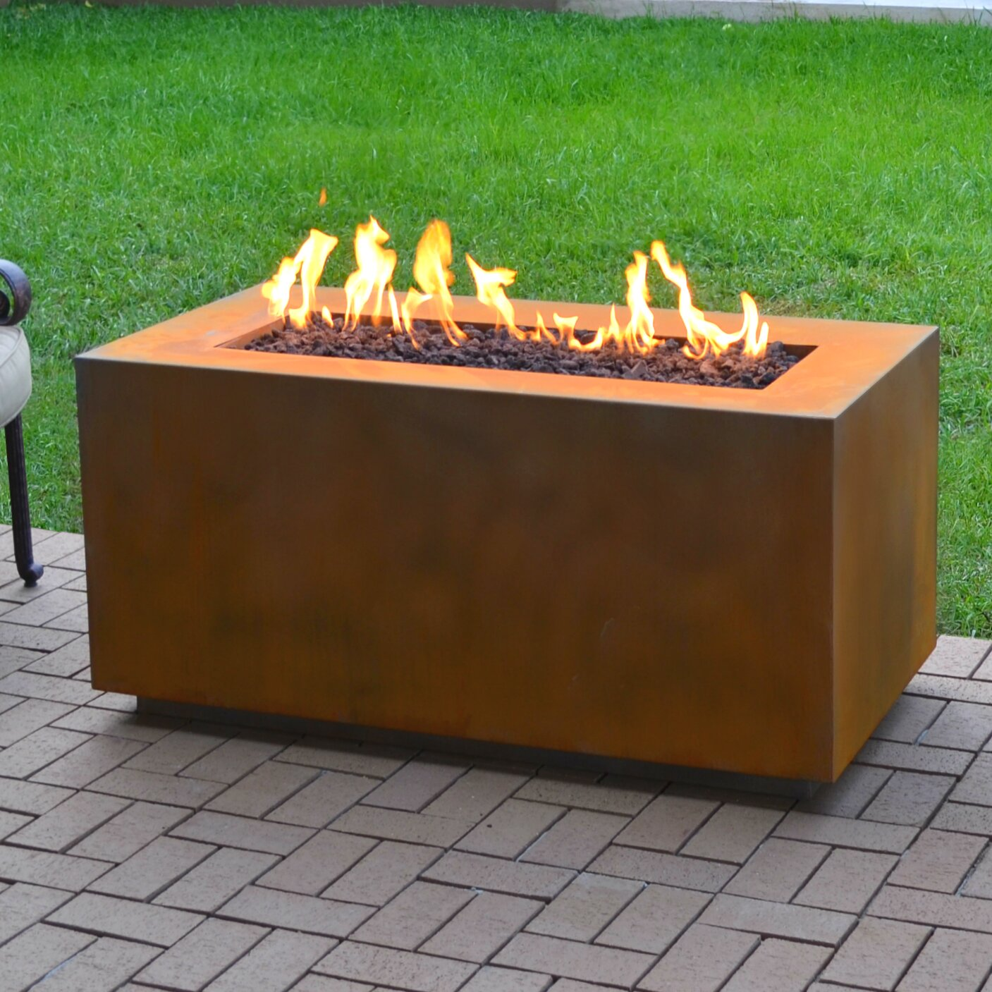 The outdoor plus corten steel propane fire pit table for Buy outdoor fire pit