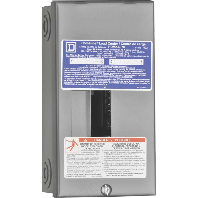 Square D 70 Amp Manual Transfer Switch with Main Lug Load Center