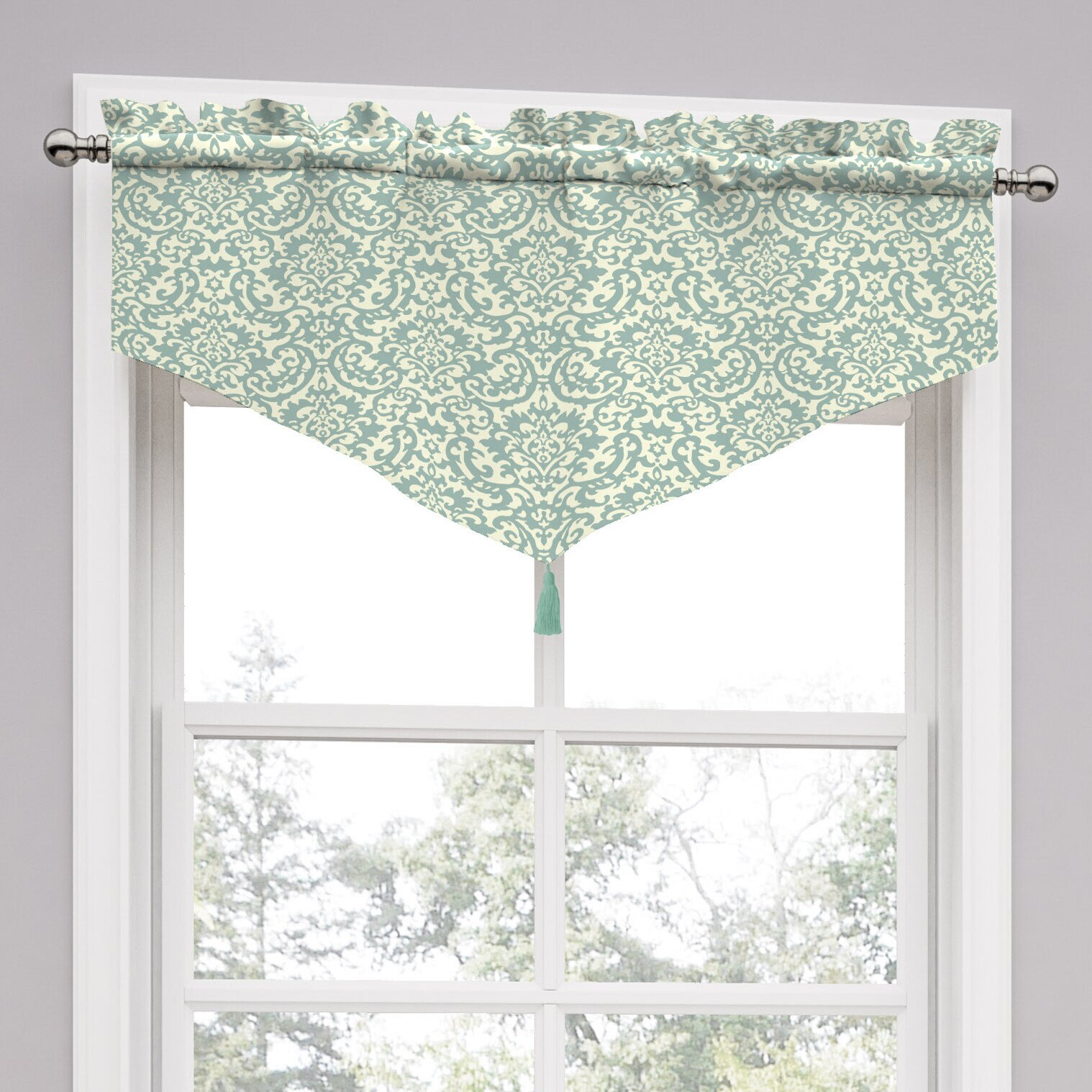 """Traditions By Waverly Duncan Damask 52"""" Curtain Valance"""