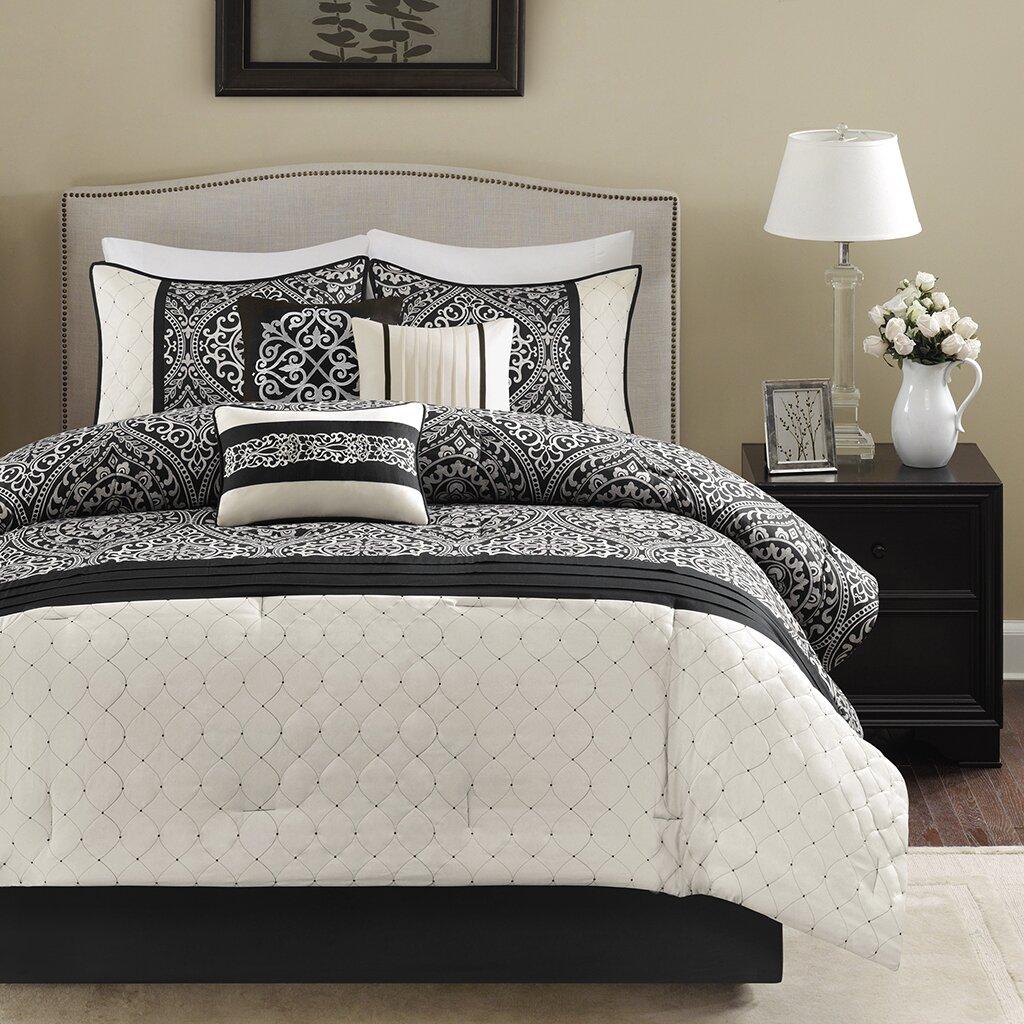 madison park dover 7 piece comforter set reviews wayfair. Black Bedroom Furniture Sets. Home Design Ideas