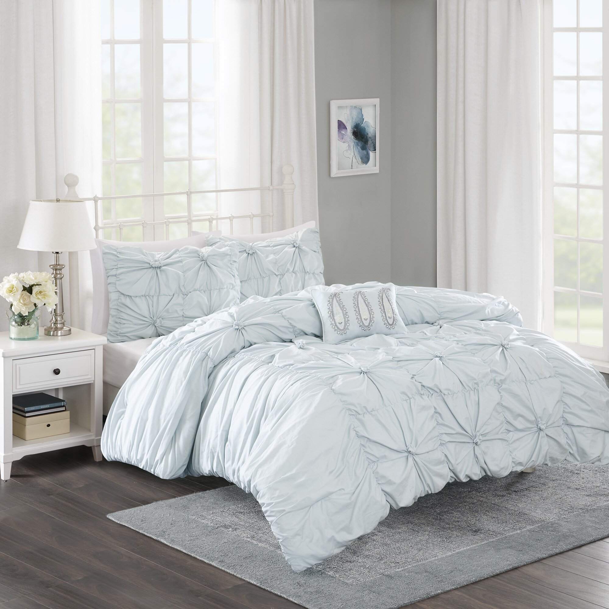 Madison park harlow 4 piece duvet cover set reviews for Beds harlow