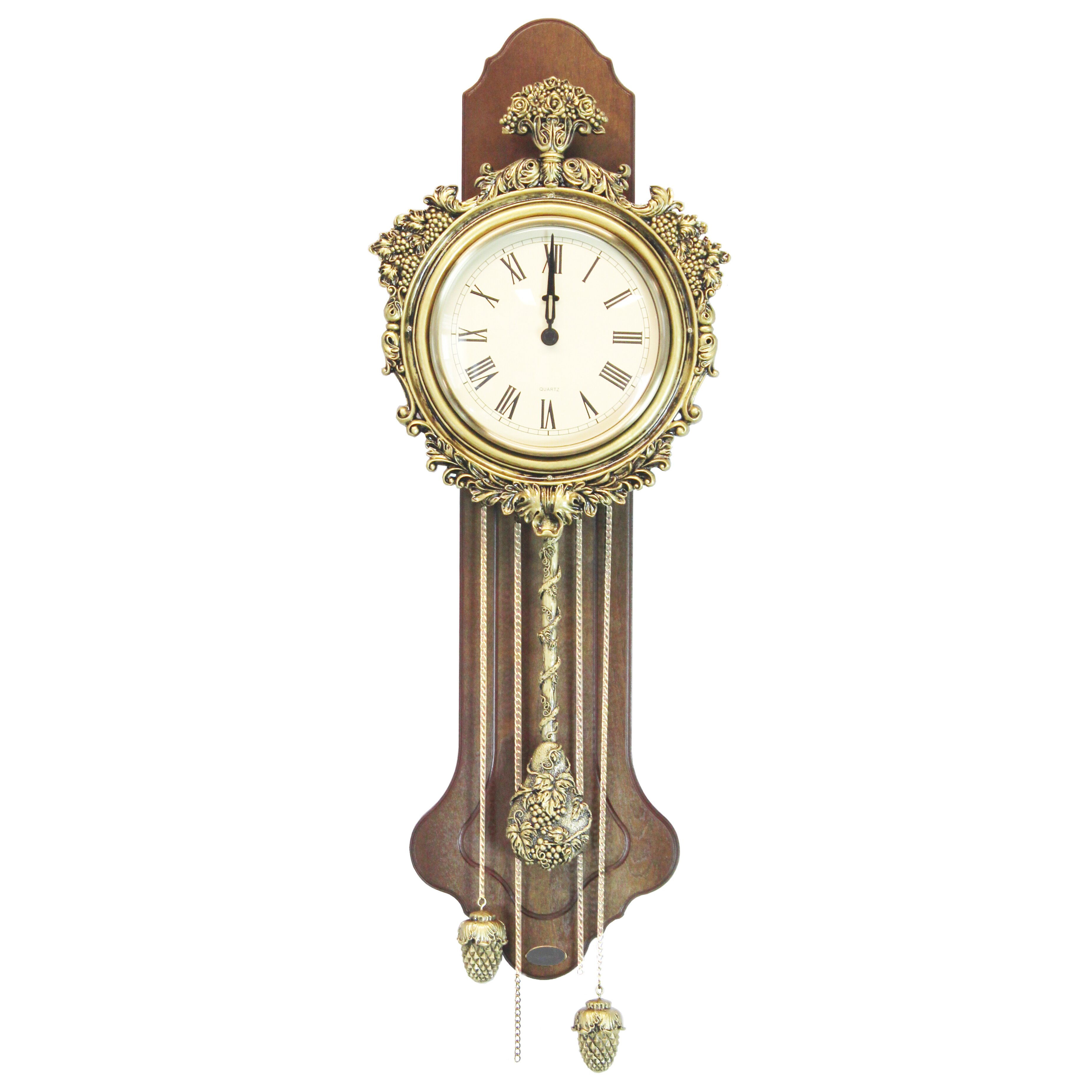 Uniquewise Elegant Wood Wall Clock with Acorn Pendulum ...