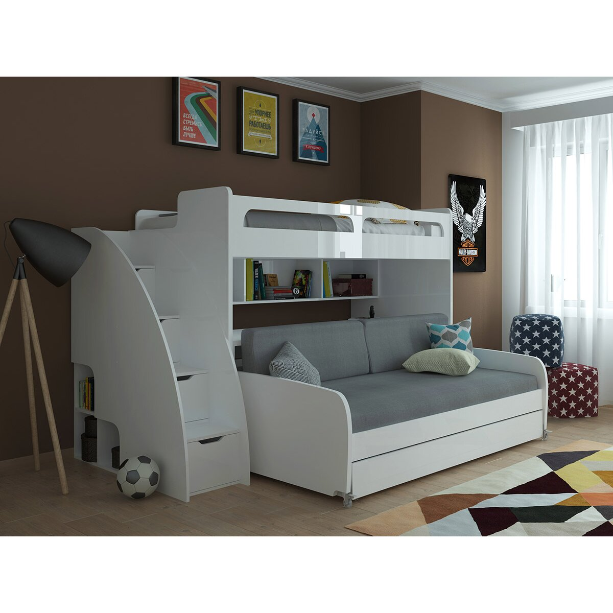 Multimo Multimo Twin Bunk Bed With Trundle Amp Reviews Wayfair