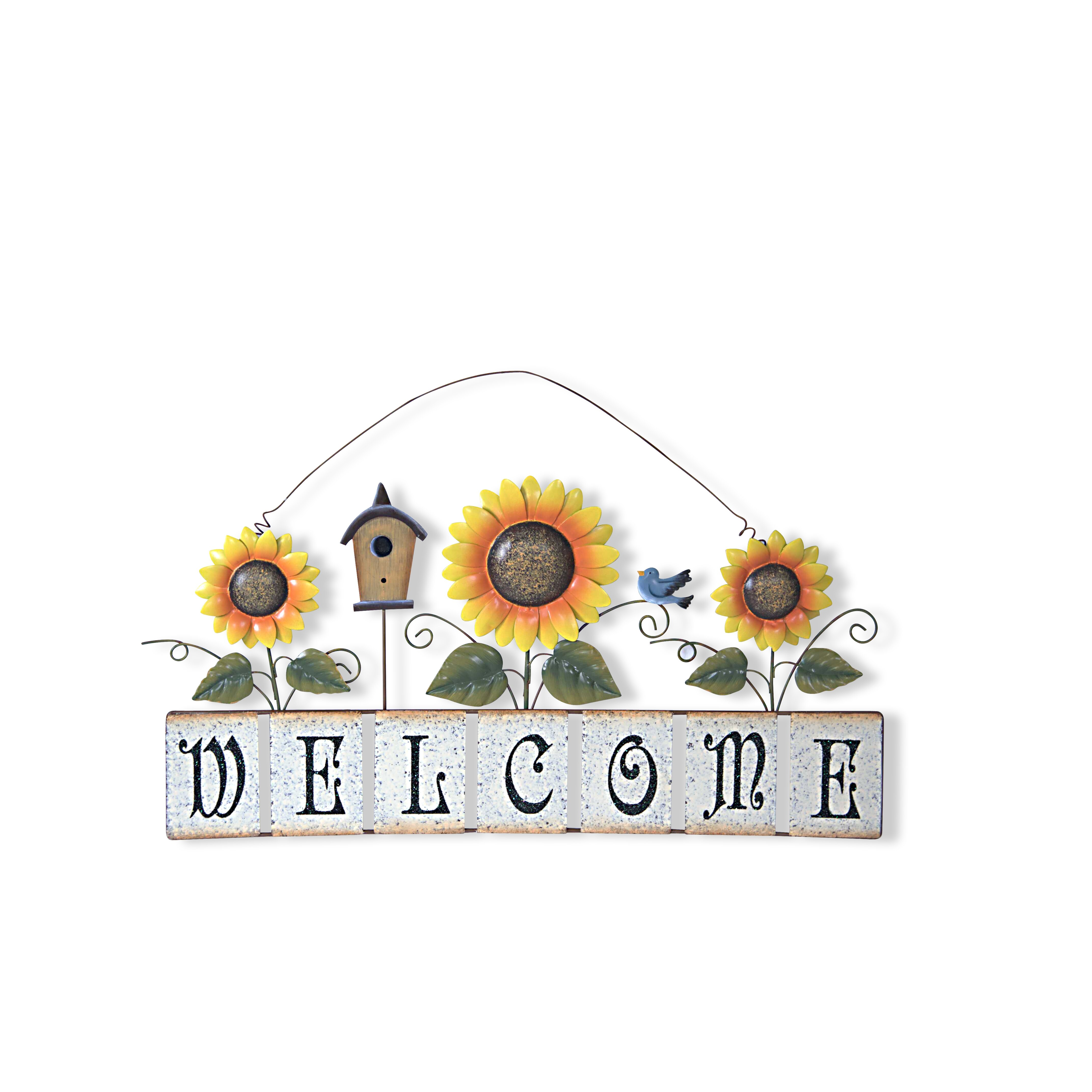 Garden Sunflower Wall Decor : Attractiondesignhome garden sunflower welcome sign wall