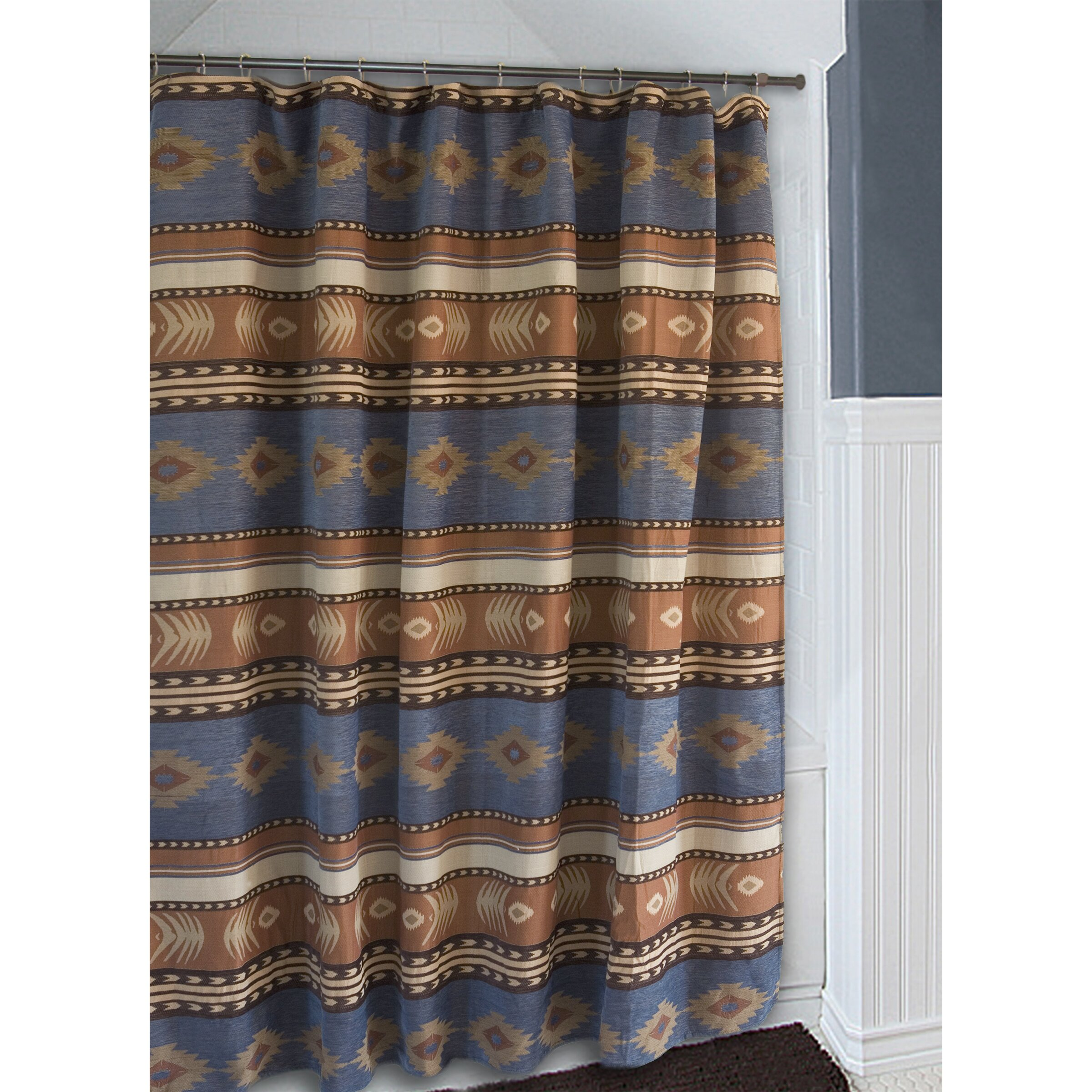 Carstens Inc Sierra Denim Blue And Brown Southwest Western Shower Curtain Wayfair