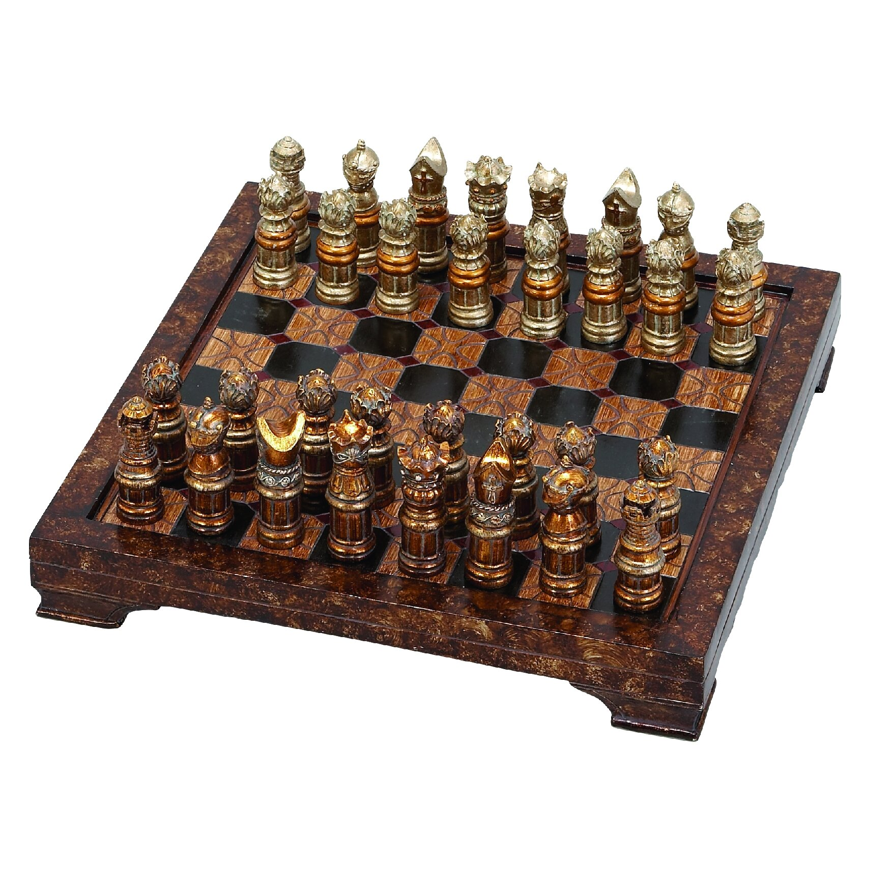 Rosalind wheeler decorative hosting styled chess board set reviews wayfair - Ornate chess sets ...