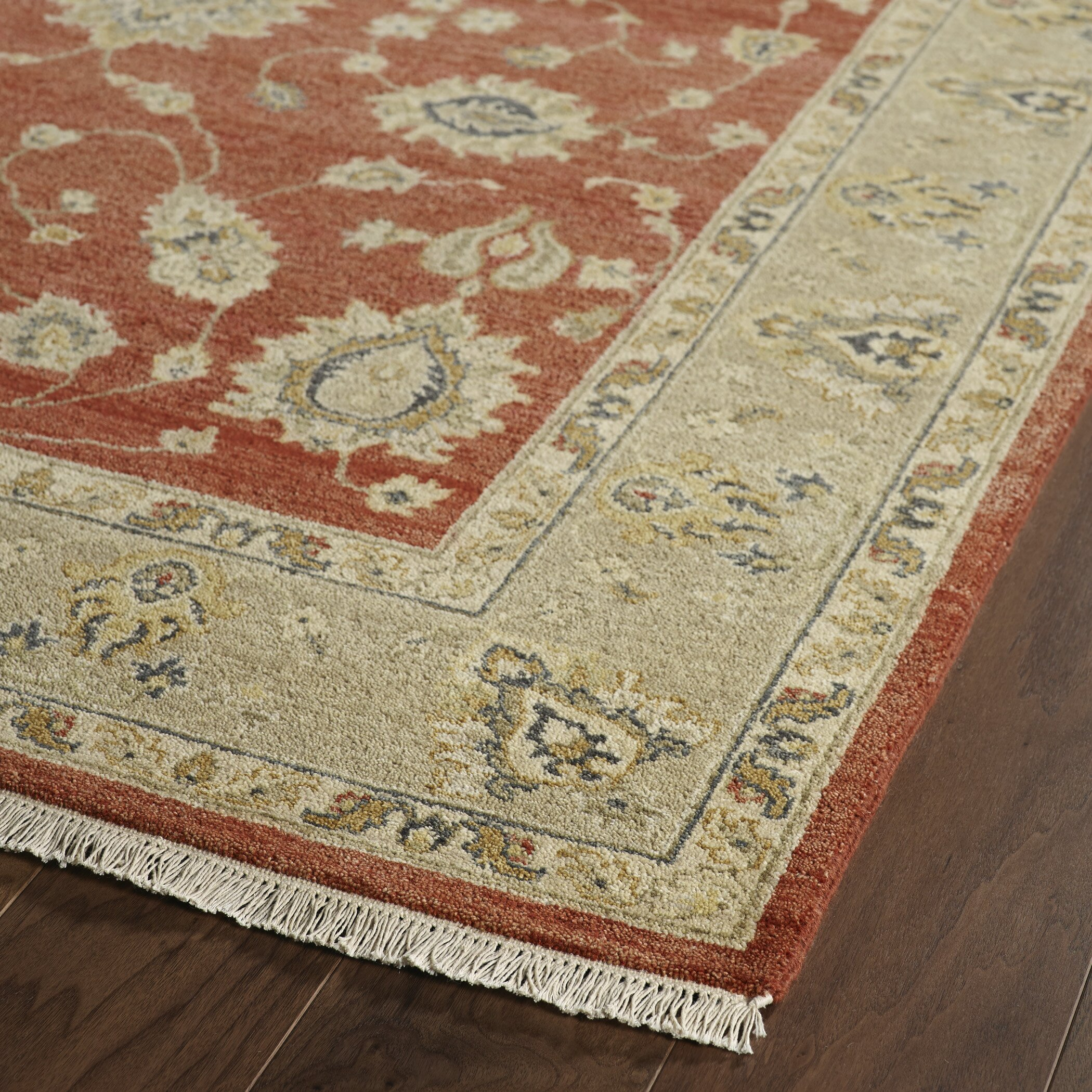 Rosalind Wheeler Barge Hand Knotted Red Area Rug Wayfair
