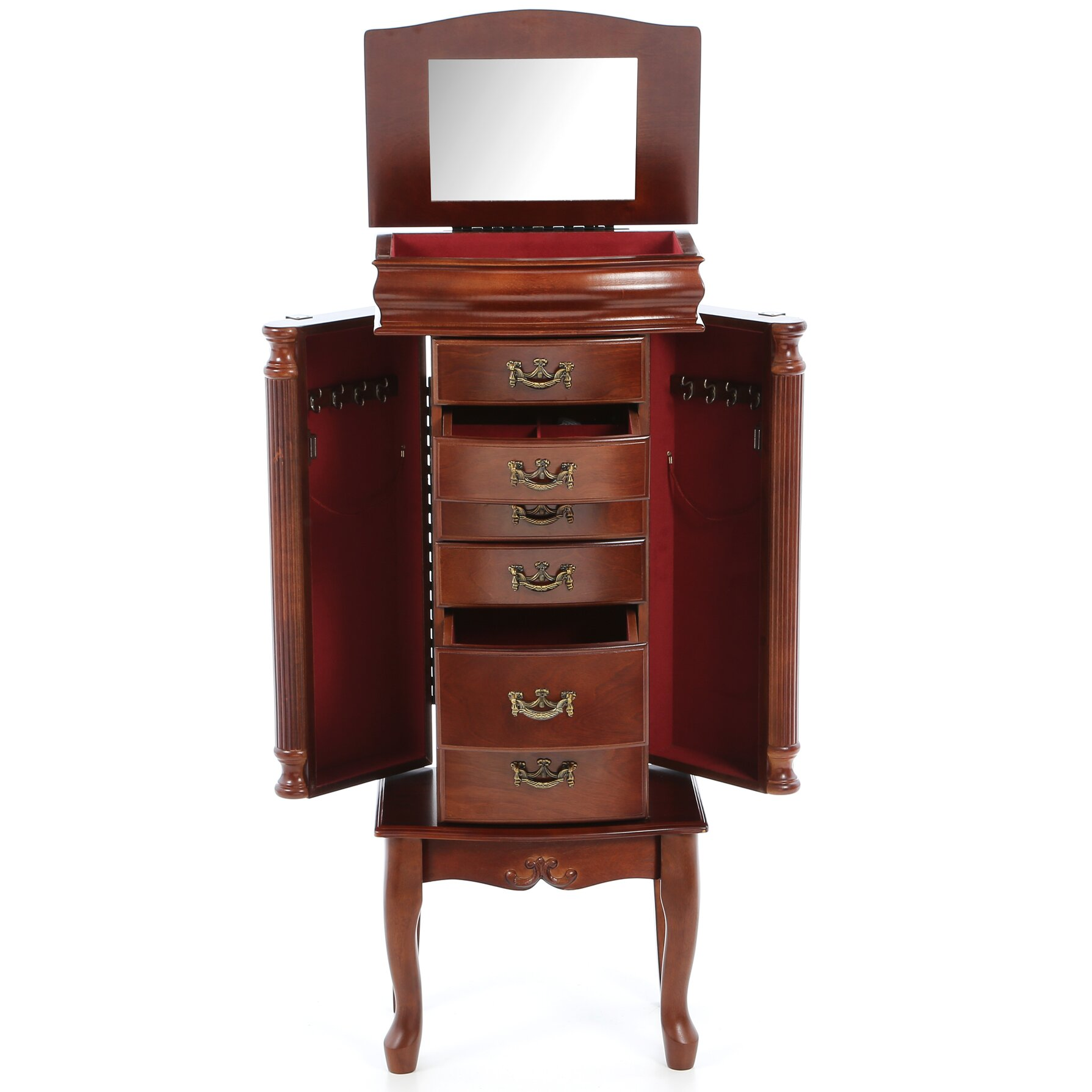 Antique Mahogany Dining Room Furniture Rosalind Wheeler Mullane Jewelry Armoire With Mirror