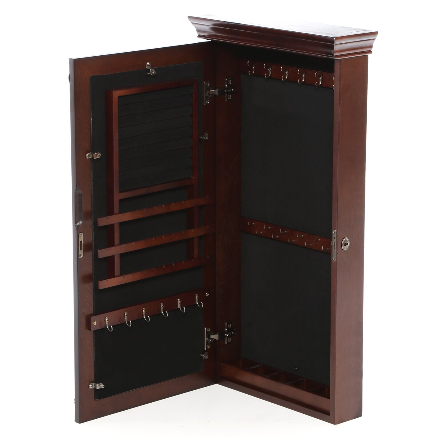 rosalind wheeler cheetham wall mount jewelry armoire with mirror reviews wayfair. Black Bedroom Furniture Sets. Home Design Ideas