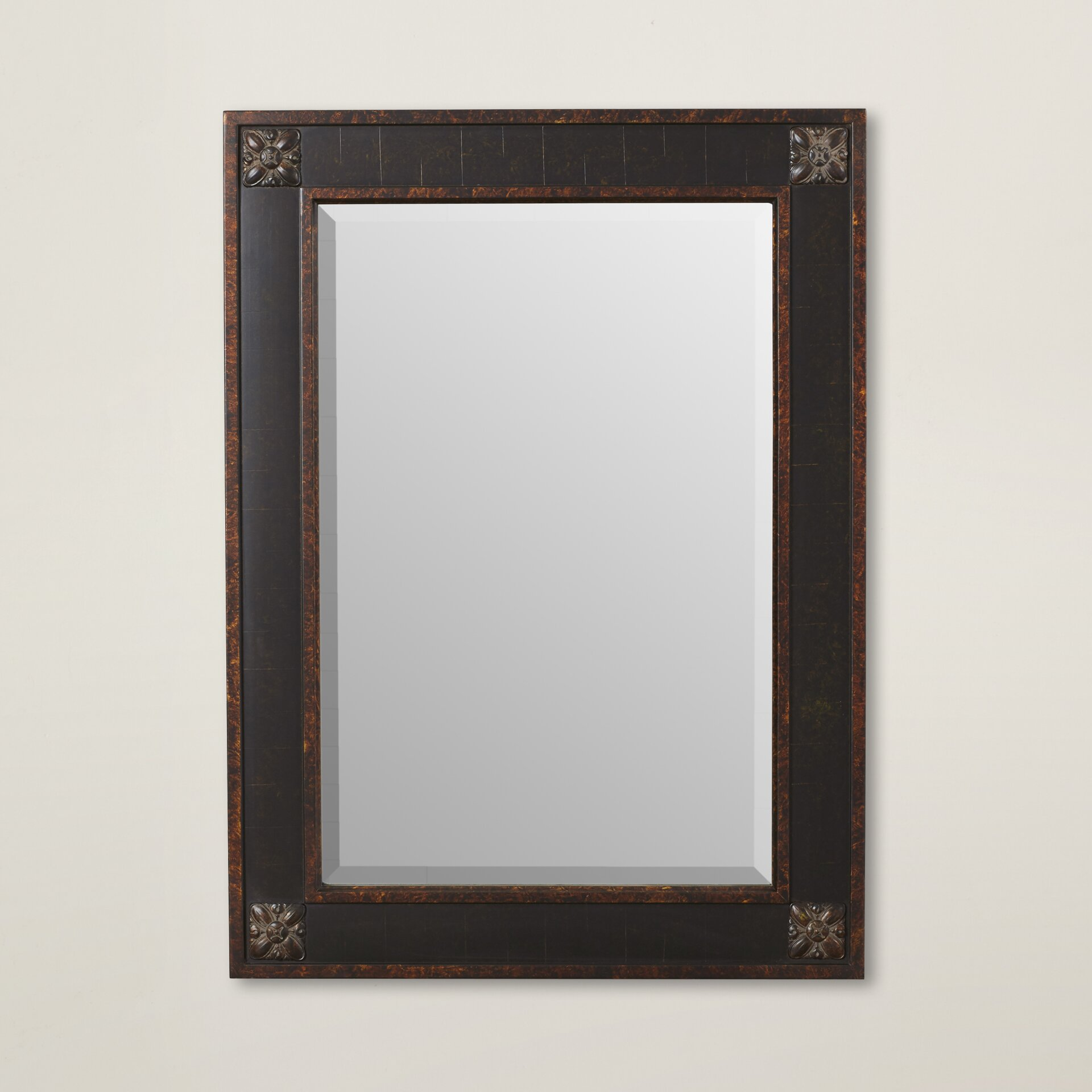 rosalind wheeler rectangular beveled vanity mirror in distressed walnut brown. Black Bedroom Furniture Sets. Home Design Ideas