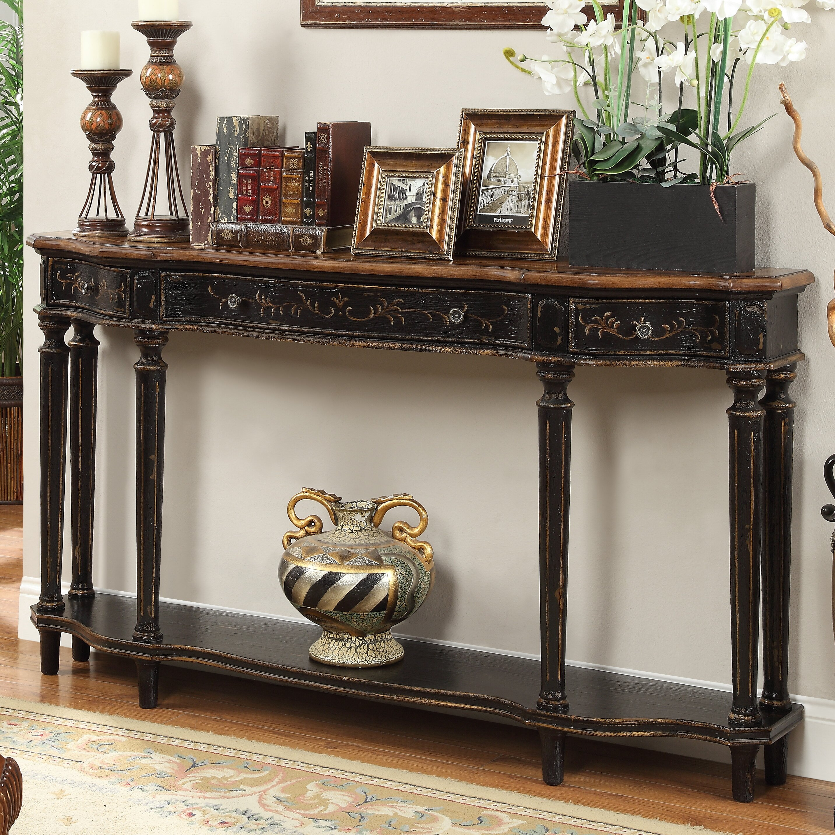 rosalind wheeler pinehill antique console table reviews. Black Bedroom Furniture Sets. Home Design Ideas