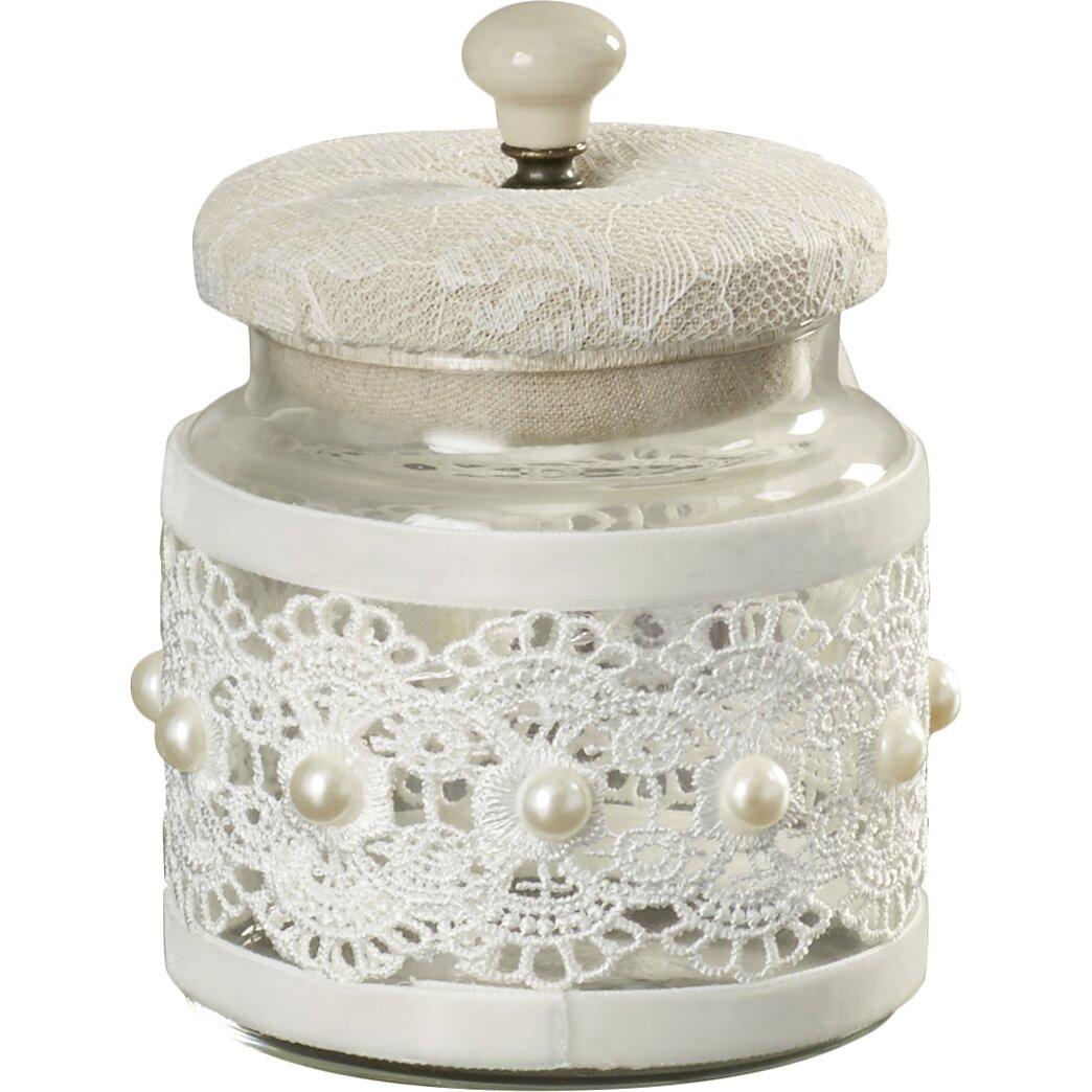 Rosalind wheeler vintage lace glass decorative jar for Designer glass jars