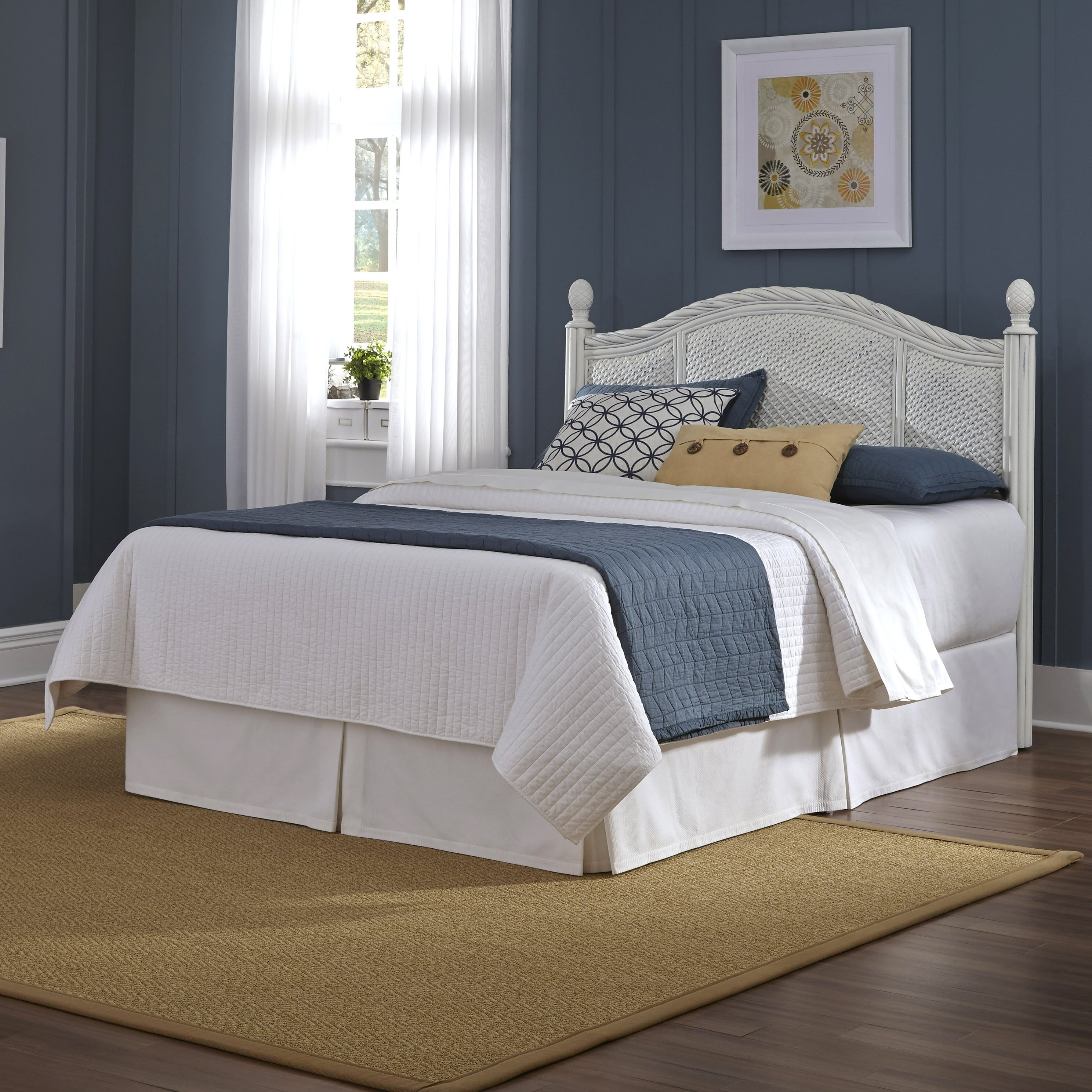 Bay isle home oliver wicker headboard reviews wayfair for Rattan bedroom furniture