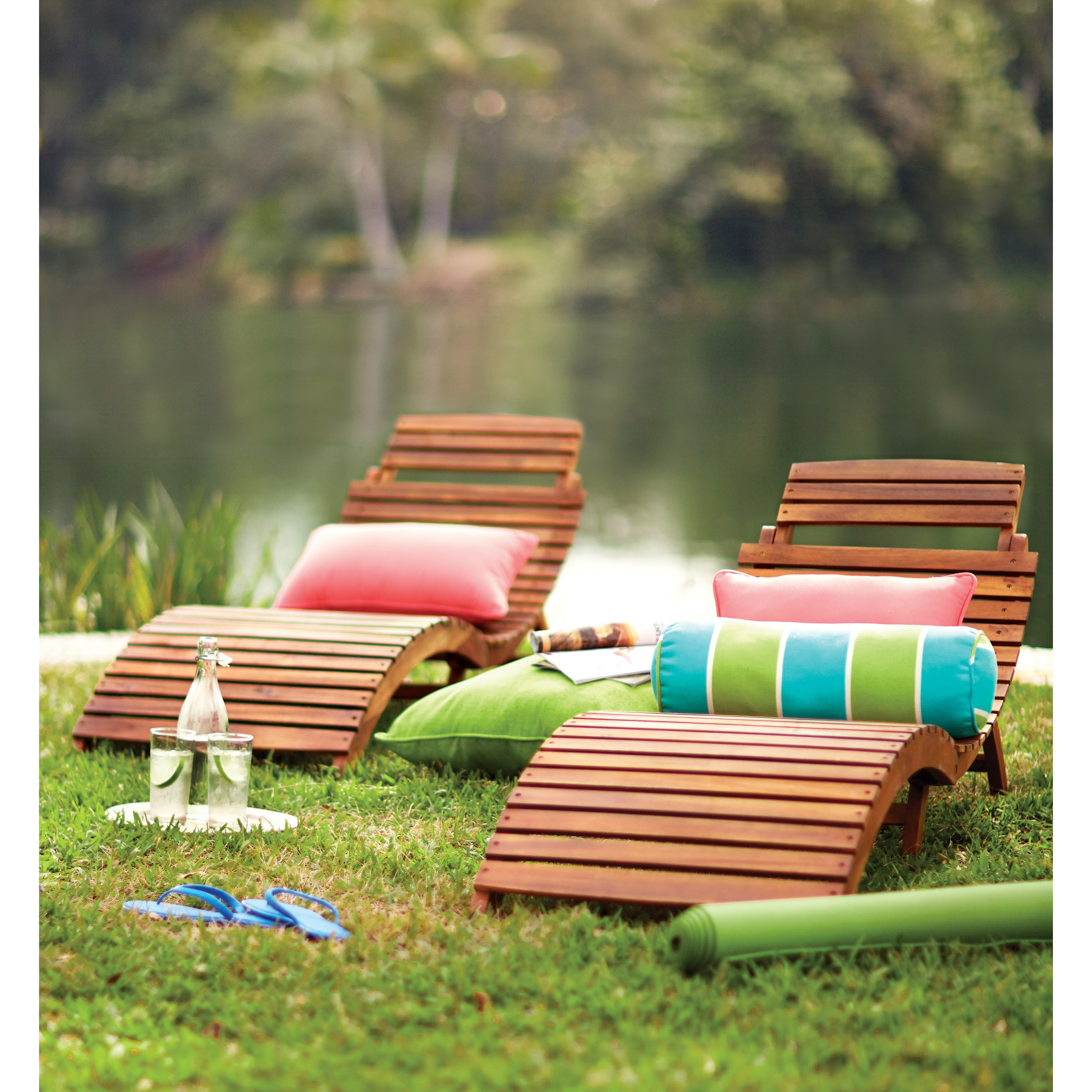 Bay isle home philodendron wood outdoor chaise lounge for Garden pool tesco