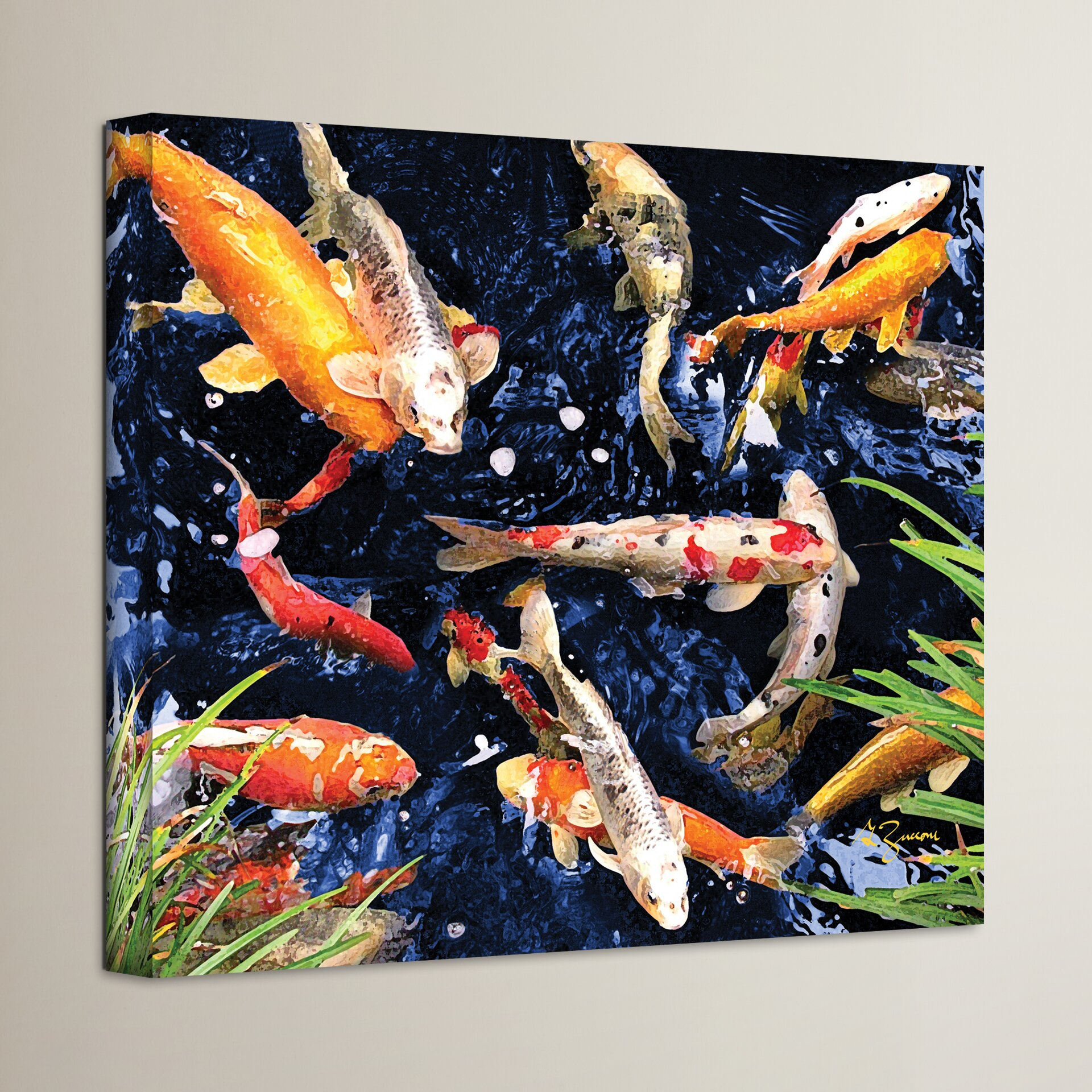 Bay isle home koi painting print on canvas reviews wayfair for Koi prints canvas