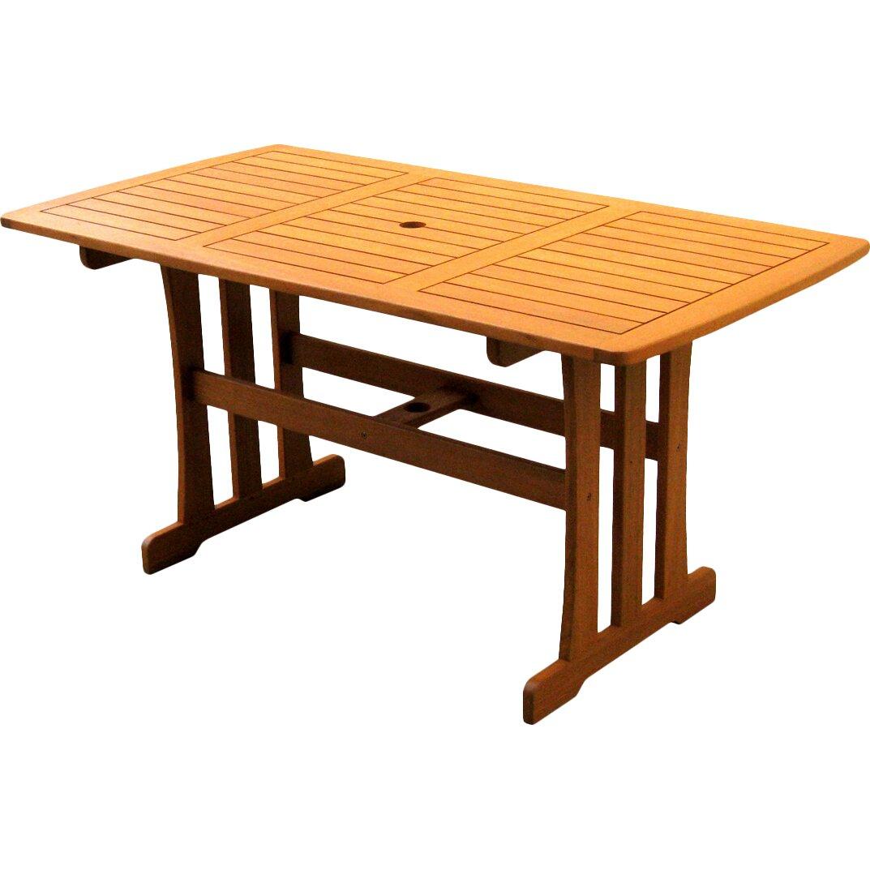 bay isle home dracaena balau dining table reviews wayfair. Black Bedroom Furniture Sets. Home Design Ideas